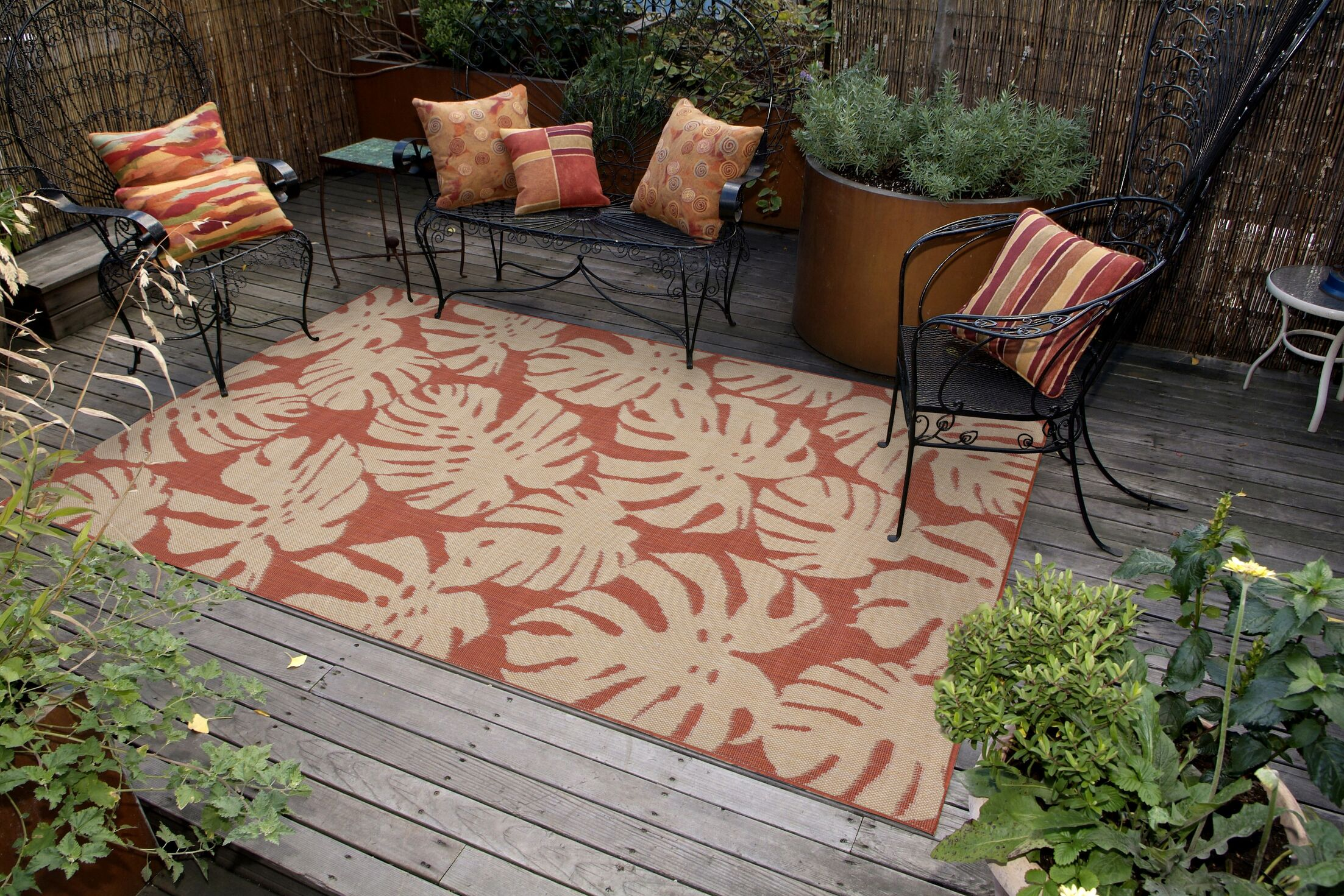 Lambert Fronds Power Loom Rust Indoor/Outdoor Area Rug Rug Size: Rectangle 4'10