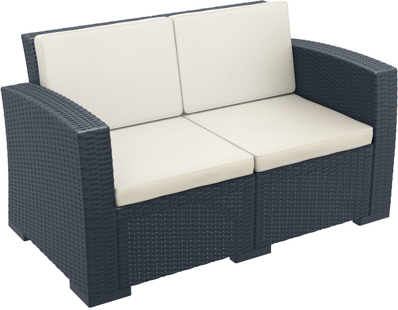 Vedder Resin Patio Loveseat with Cushion Color: Dark Gray