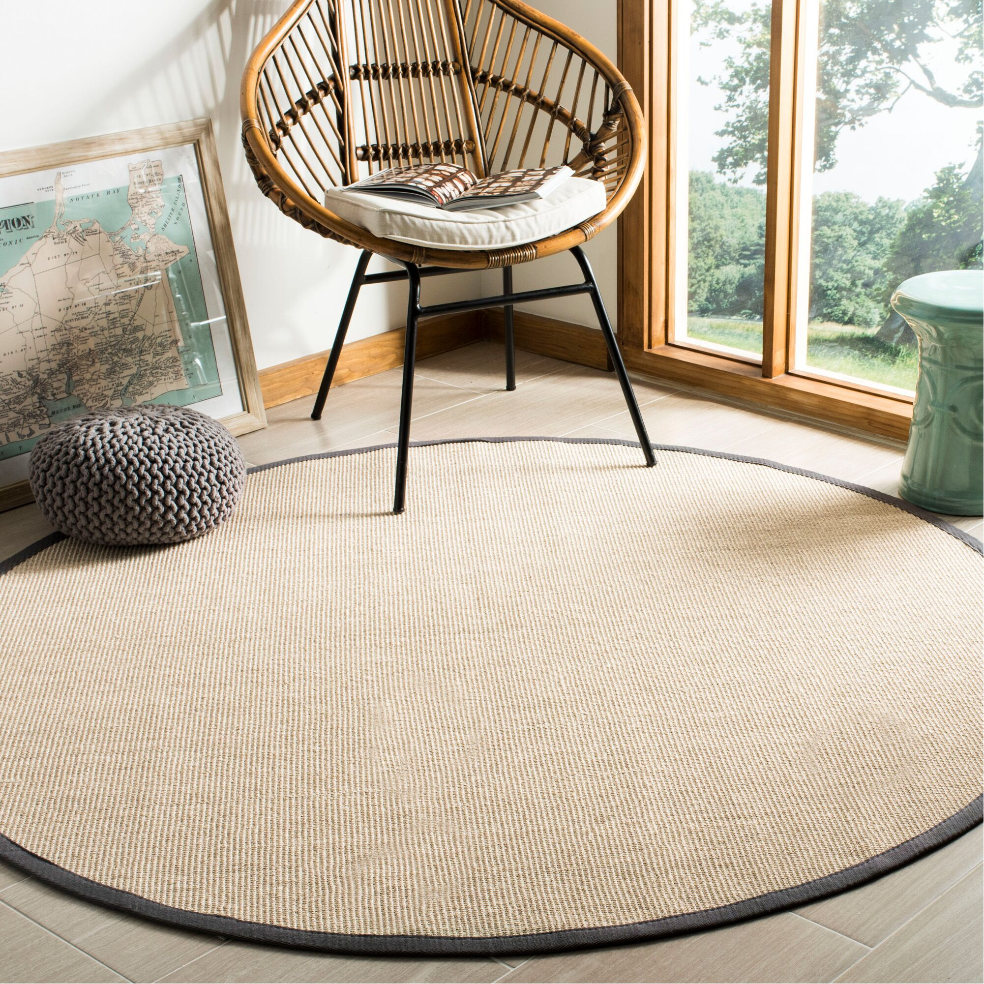 Morfou Natural/Dark Gray Area Rug Rug Size: Round 6'