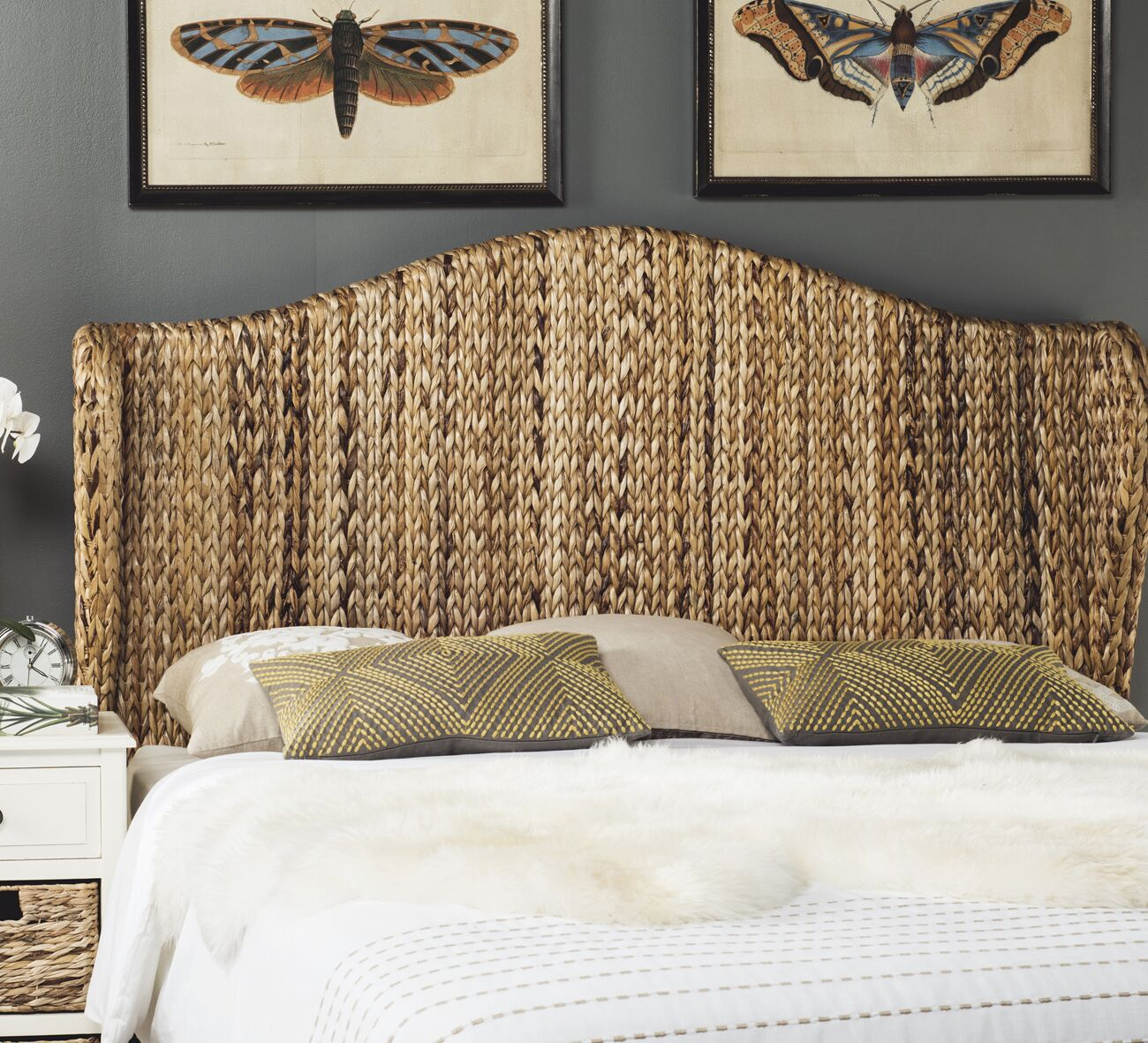 Farragut Wingback Headboard Upholstery: Natural, Size: Queen