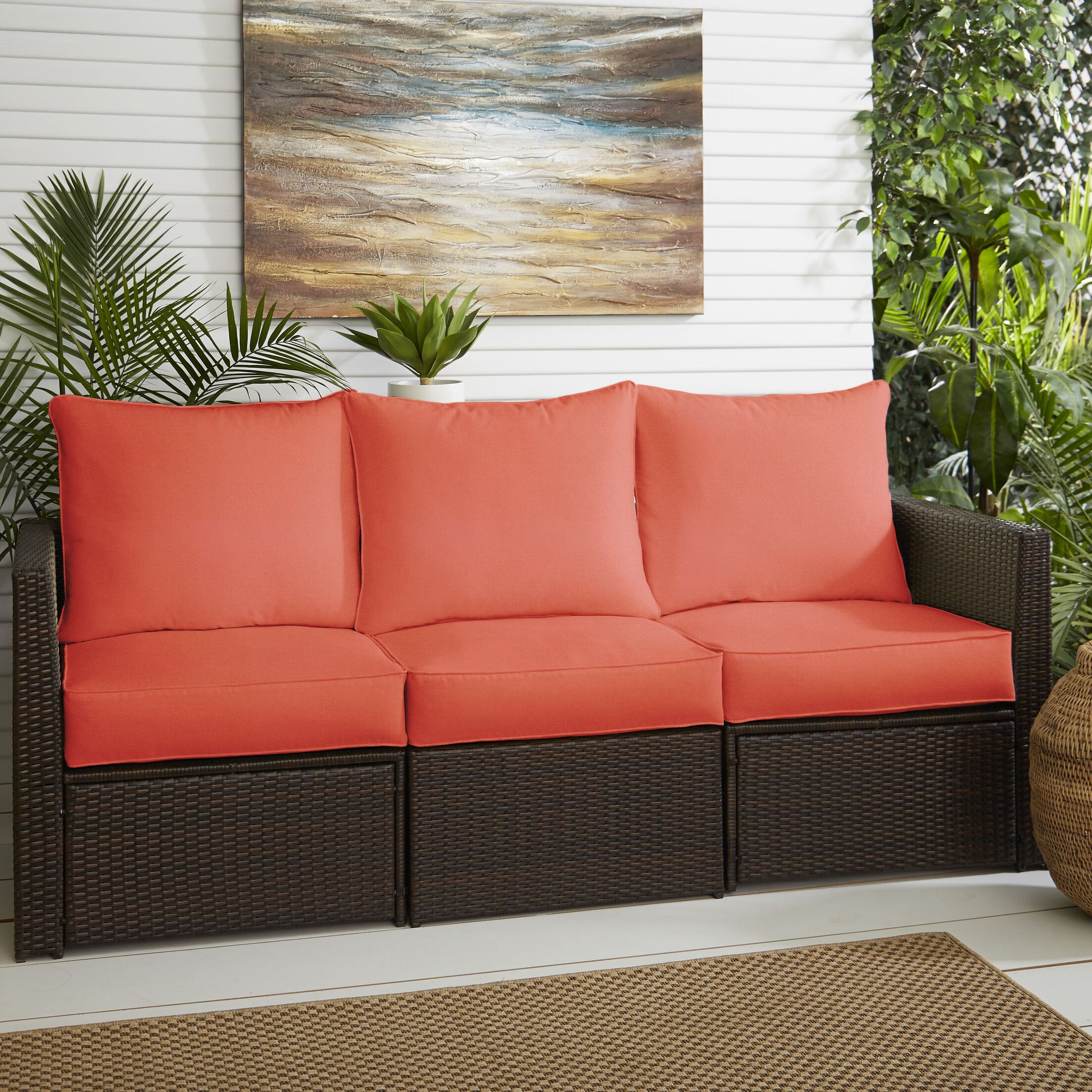 Indoor/Outdoor Sunbrella Sofa Cushion Fabric: Canvas Melon