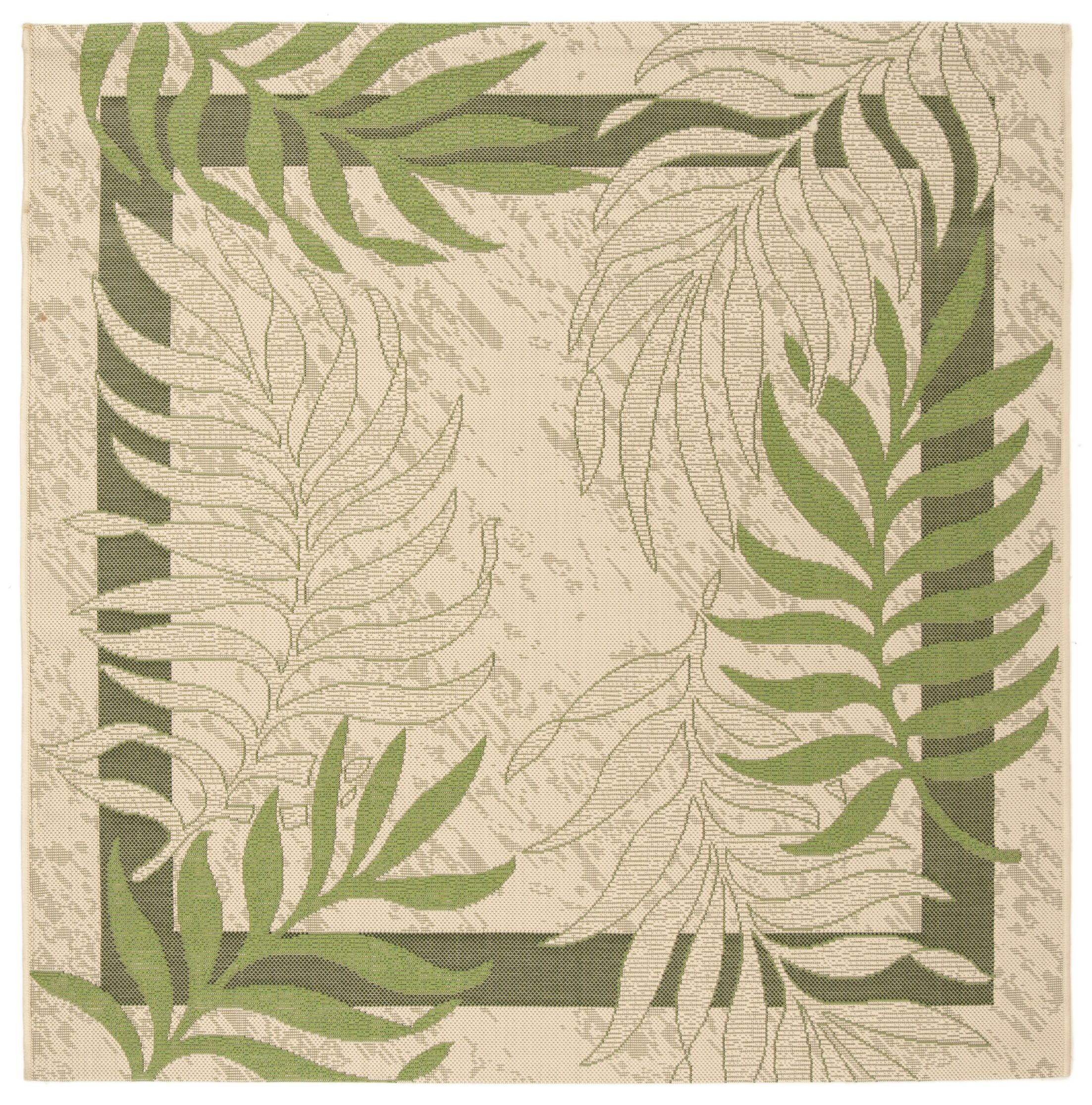 Amaryllis Cream/Green Indoor/Outdoor Rug Rug Size: Square 5'3
