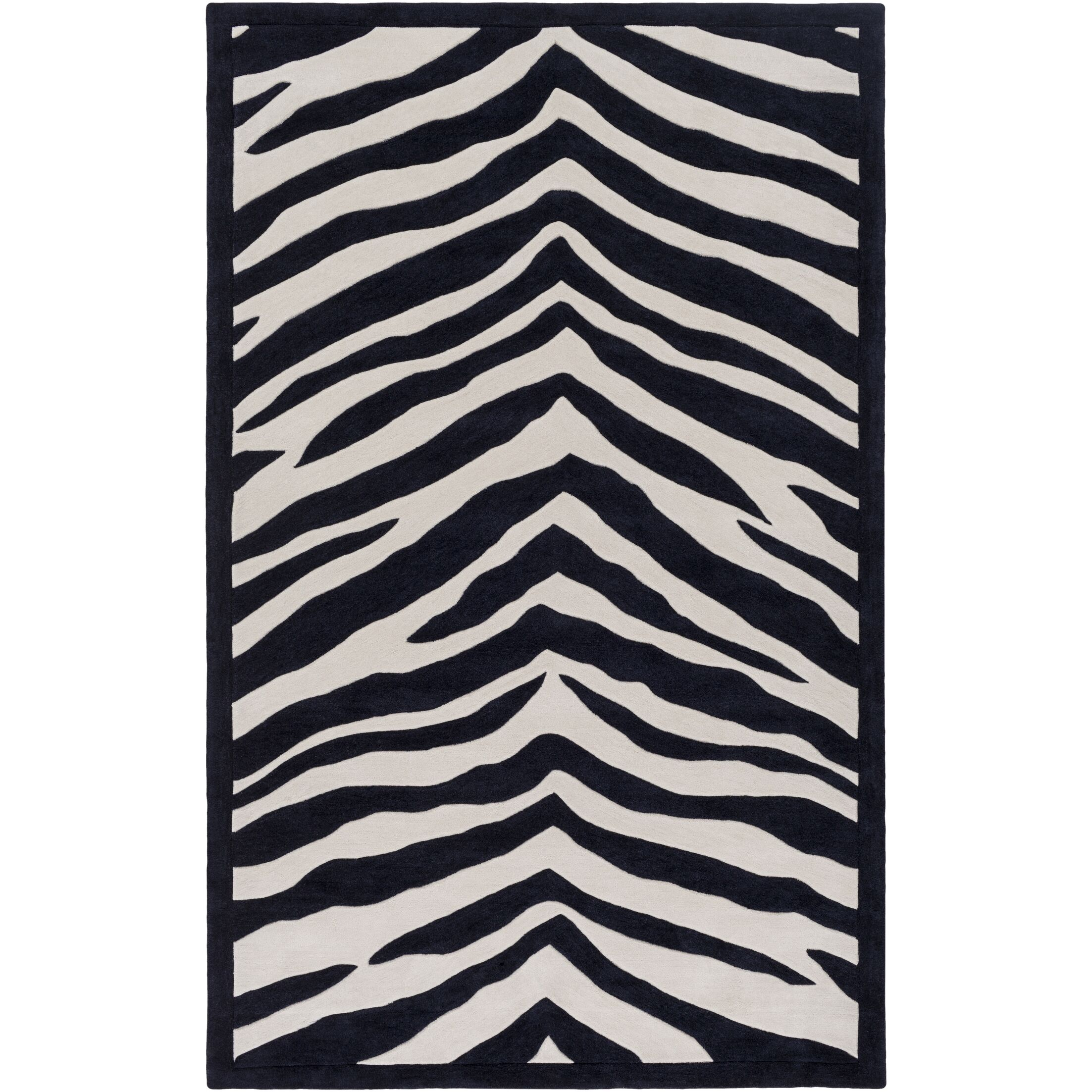 Alvin Hand-Tufted Black/Ivory Area Rug Rug Size: Rectangle 3' x 5'
