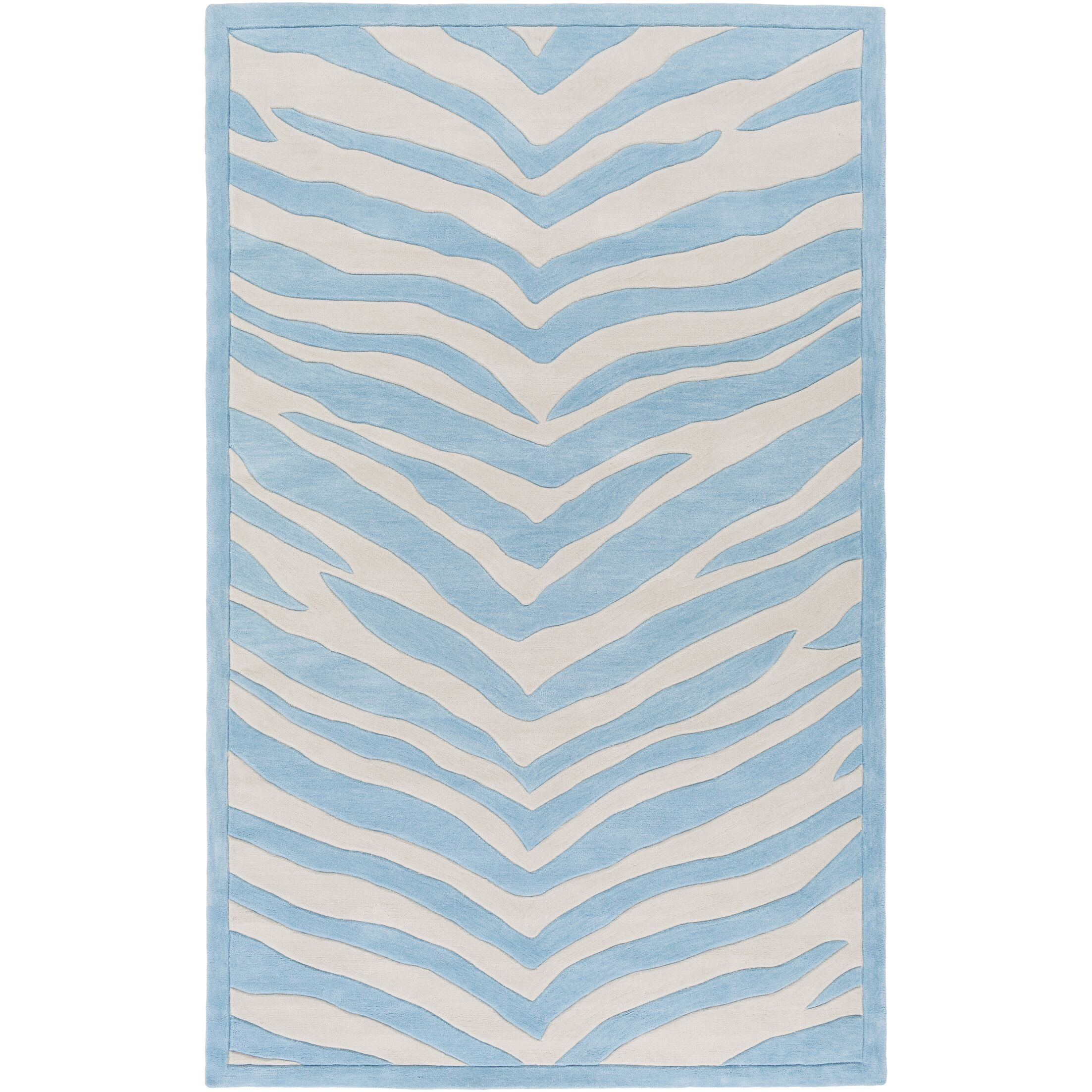 Alvin Hand-Tufted Sky Blue/Ivory Area Rug Rug Size: Rectangle 5' x 7'6