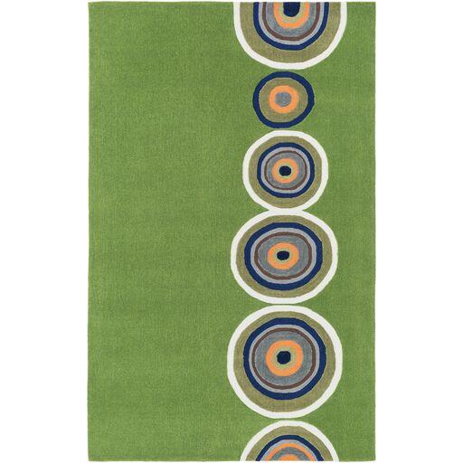 Cesar Hand-Tufted Green/Orange Area Rug Rug Size: Rectangle 5' x 7'6