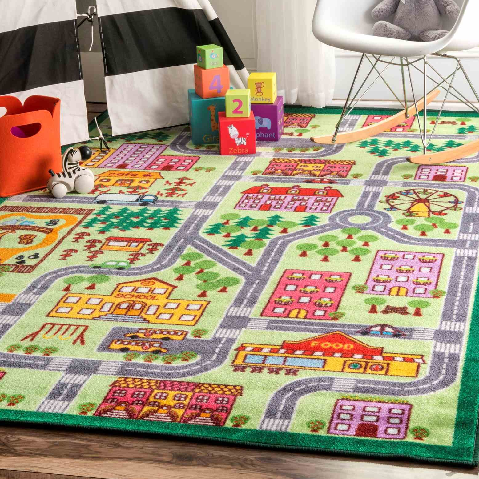 Rhoda Kids Map City Area Rug Rug Size: Rectangle 5' x 7'5
