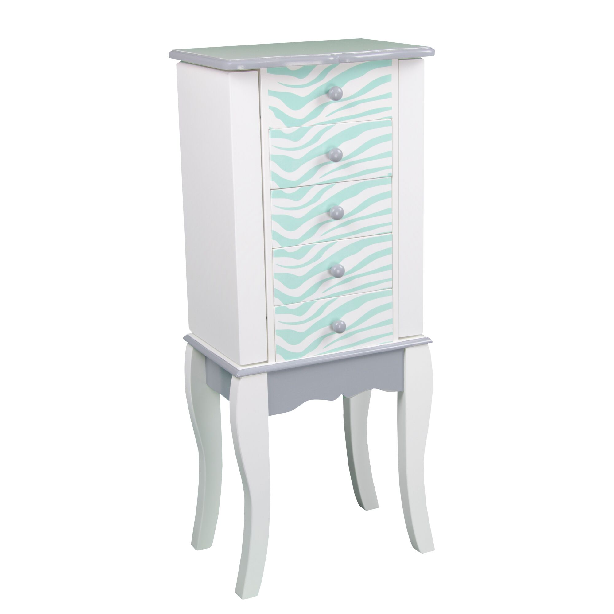 Fashion Prints Jewelry Armoire Color: White