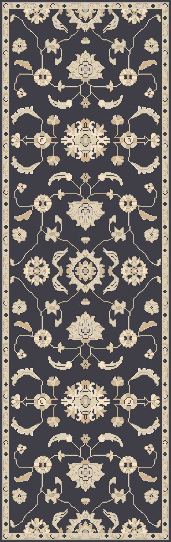 Kempinski Handmade Wool Black/Beige Area Rug Rug Size: Runner 2'6