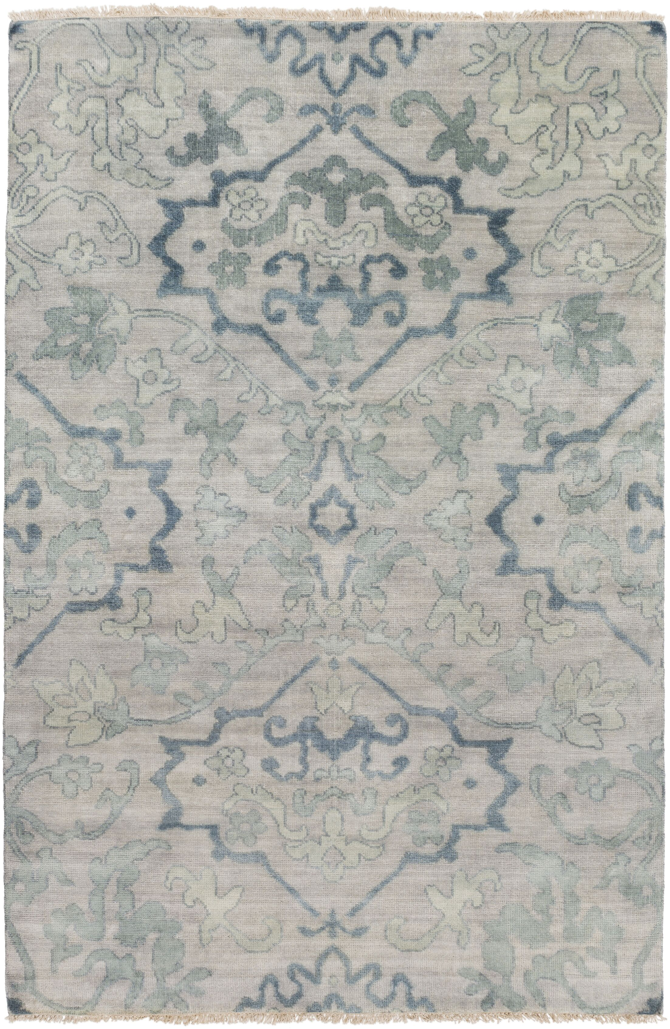 San Michele Hand-Knotted Gray Area Rug Rug Size: Rectangle 3'6