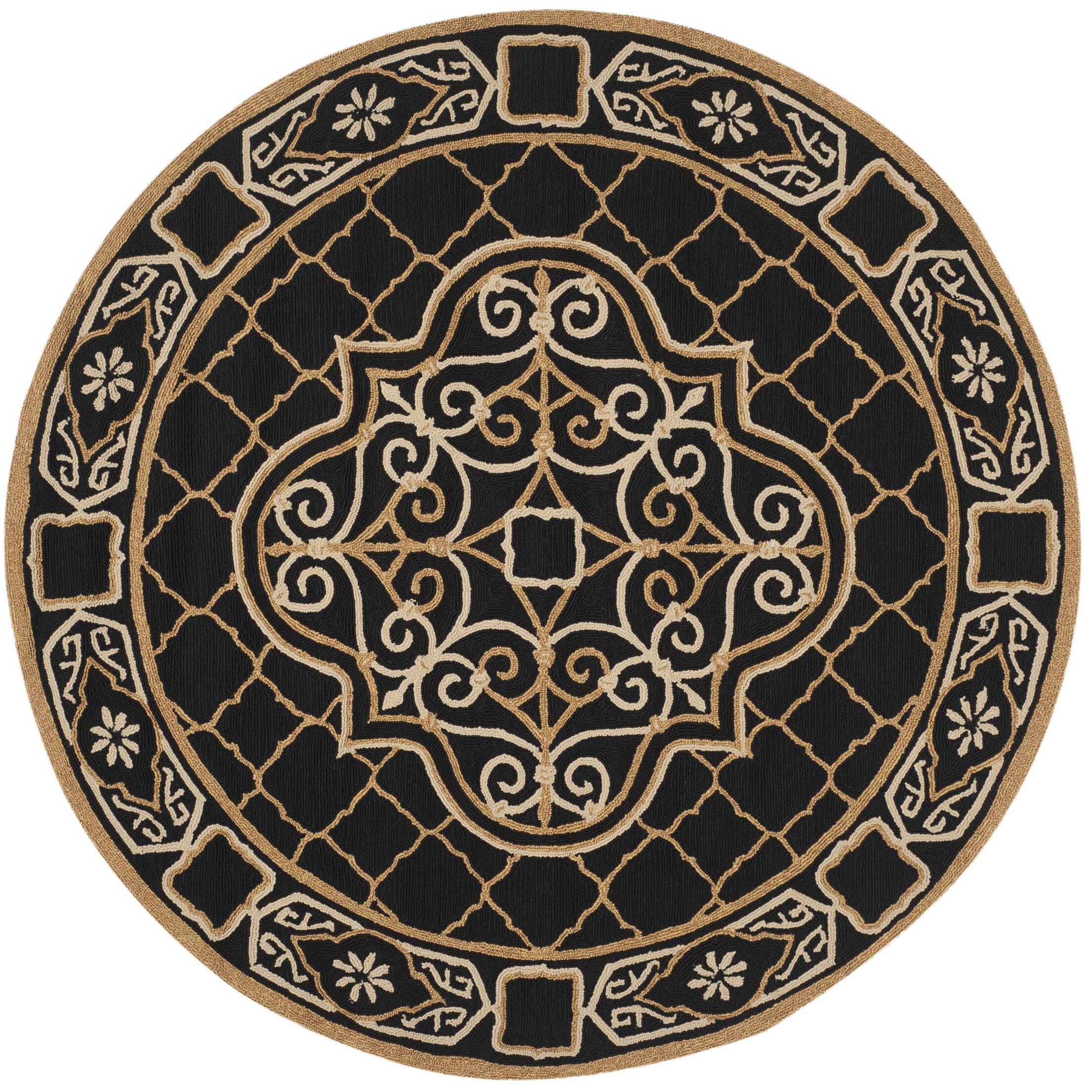 Gresham Palace Hand-Hooked Black/Gold Area Rug Rug Size: Round 8' x 8'