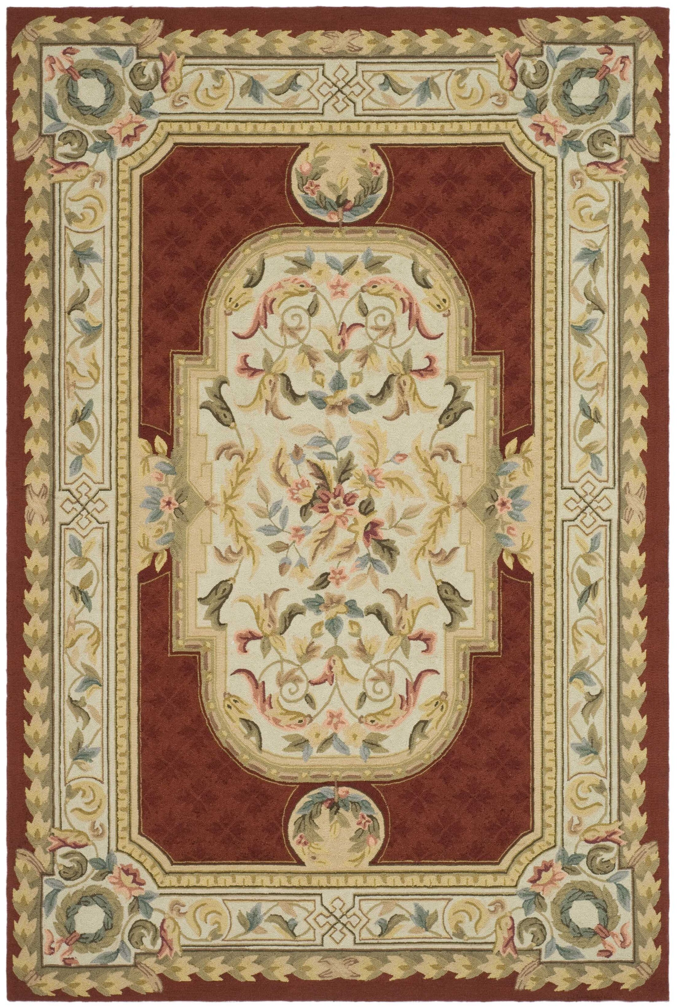 Alladin Hand-Hooked Ivory/Red Area Rug Rug Size: Rectangle 6' x 9'