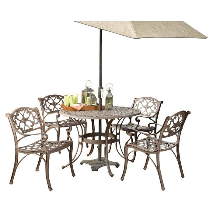 Van Glider 5 Piece Dining Set Table Size: 48
