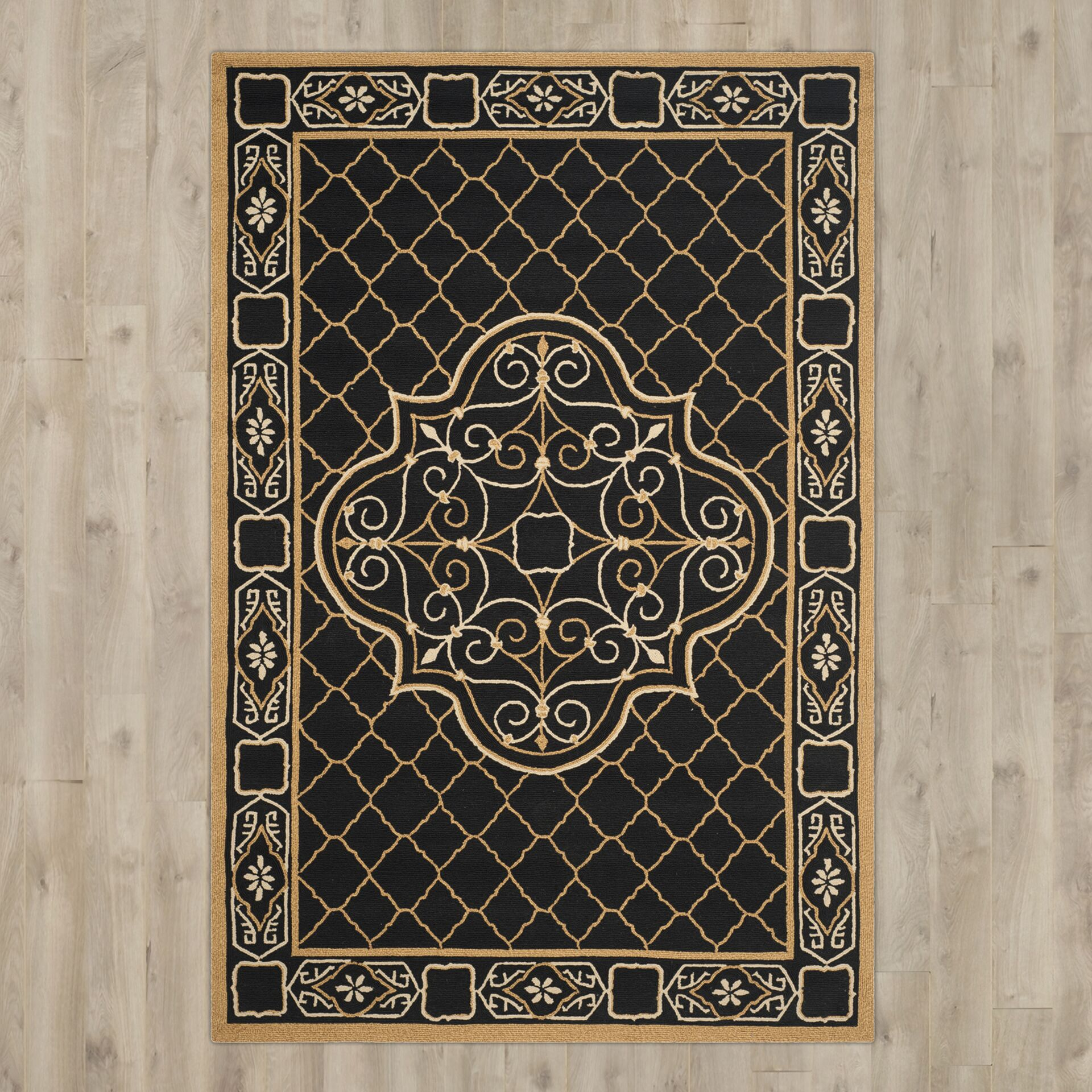 Gresham Palace Hand-Hooked Black/Gold Area Rug Rug Size: Rectangle 6' x 9'