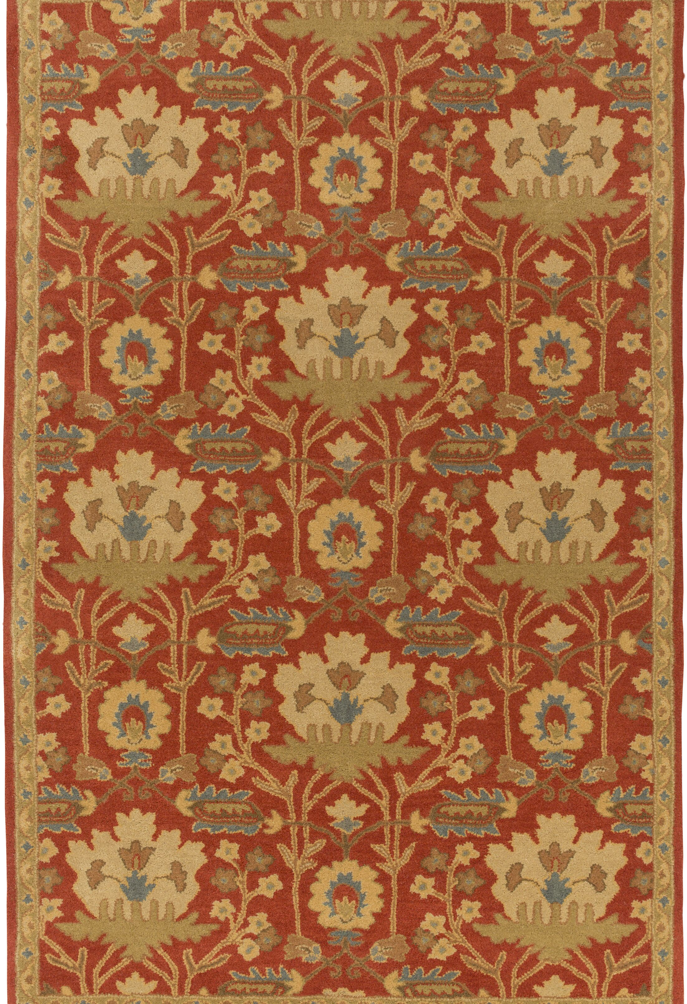Kempinski Hand-Tufted Red/Beige Area Rug Rug Size: Rectangle 8' x 11'