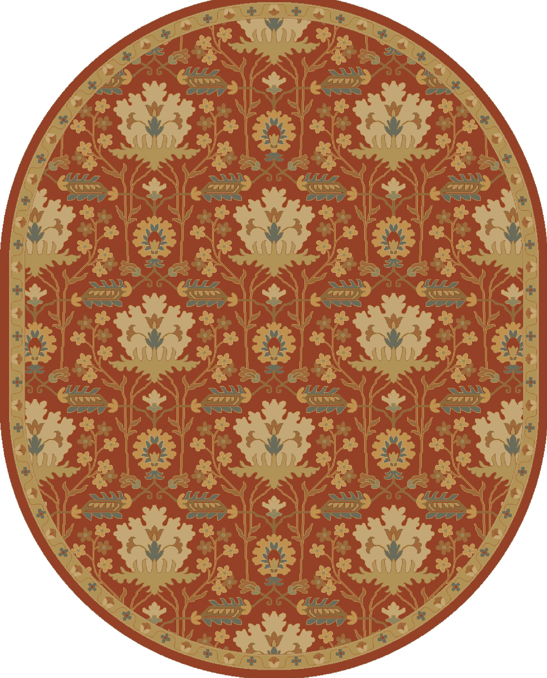 Kempinski Hand-Tufted Red/Beige Area Rug Rug Size: Oval 8' x 10'
