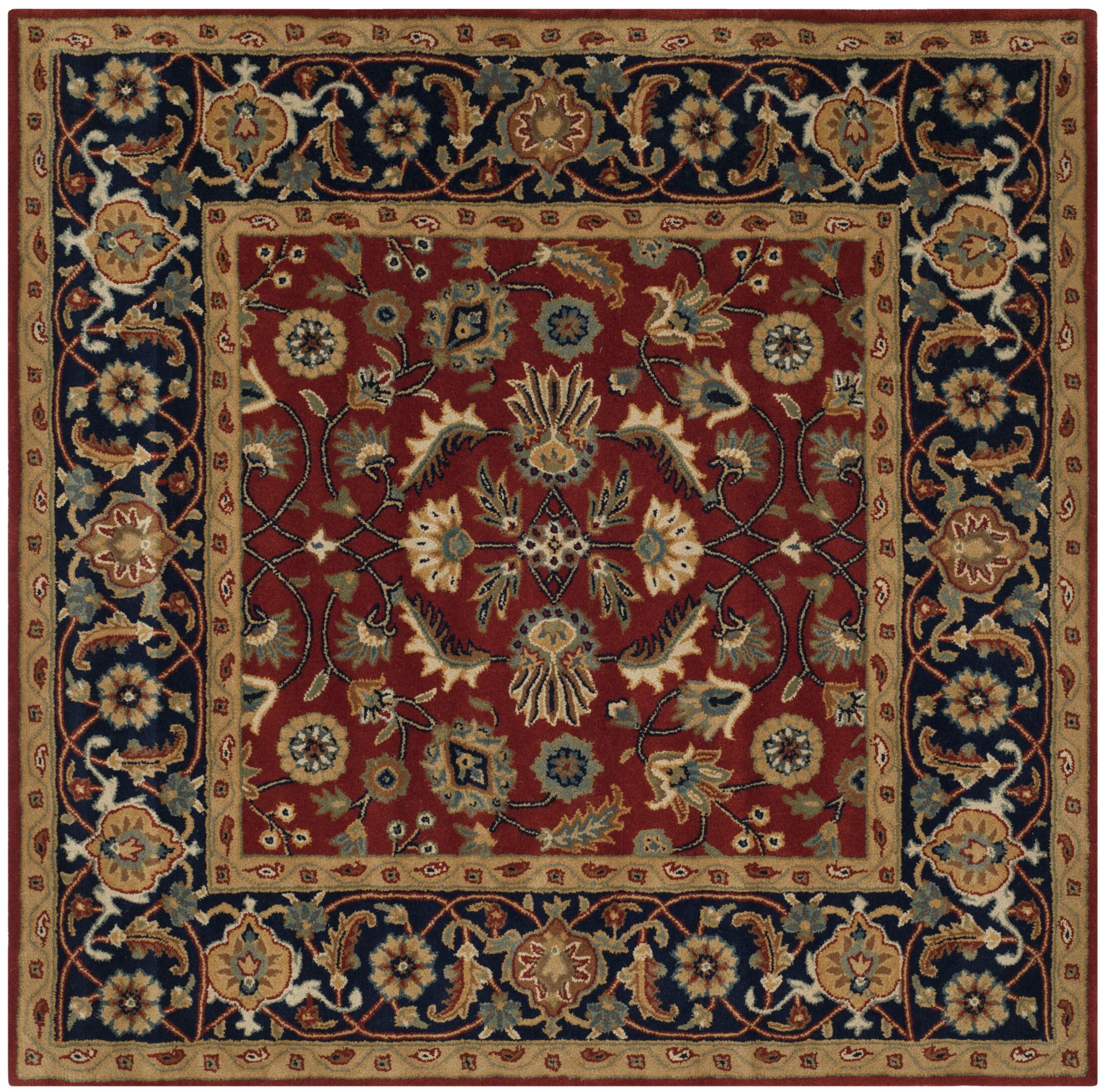 Badham Hand-Tufted Rust/Navy/Orange Area Rug Rug Size: Square 7'
