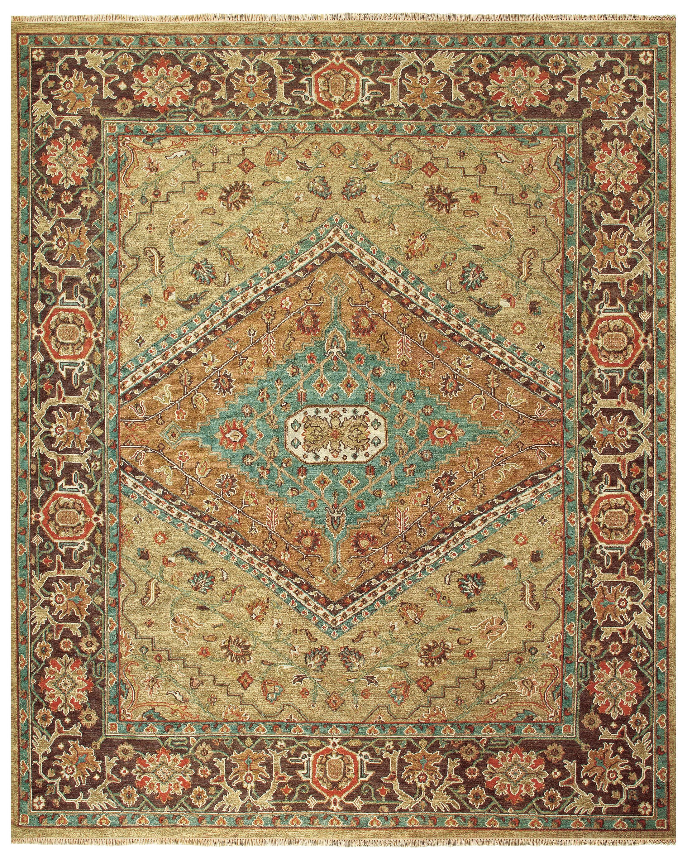 Barney Brown/Tan Floral Area Rug Rug Size: Rectangle 3'6