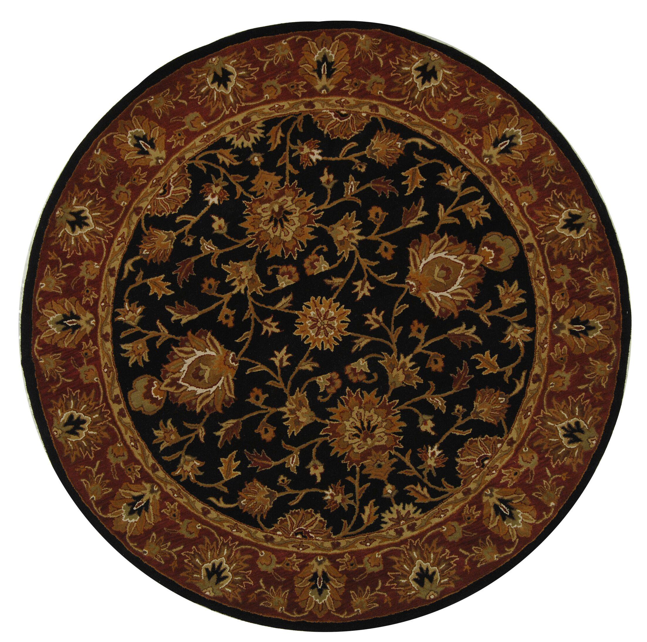 Balthrop Black/Red Area Rug Rug Size: Round 6'
