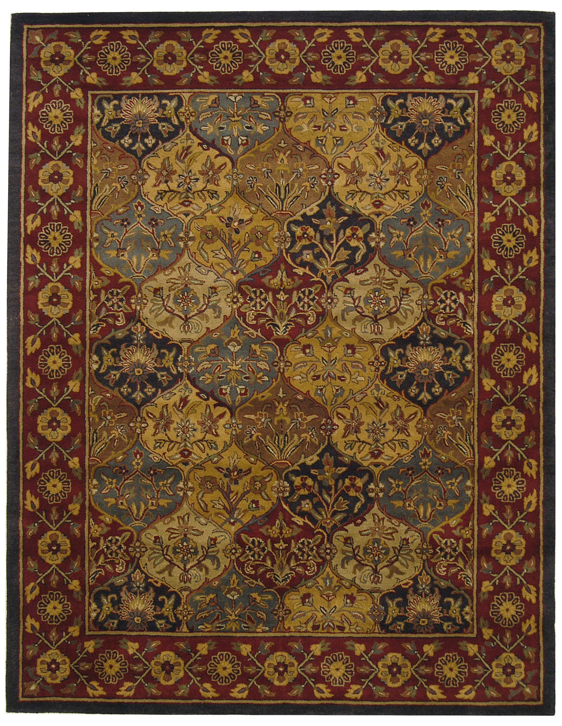 Balthrop Handmade Wool Red/Gold Area Rug Rug Size: Rectangle 7'6