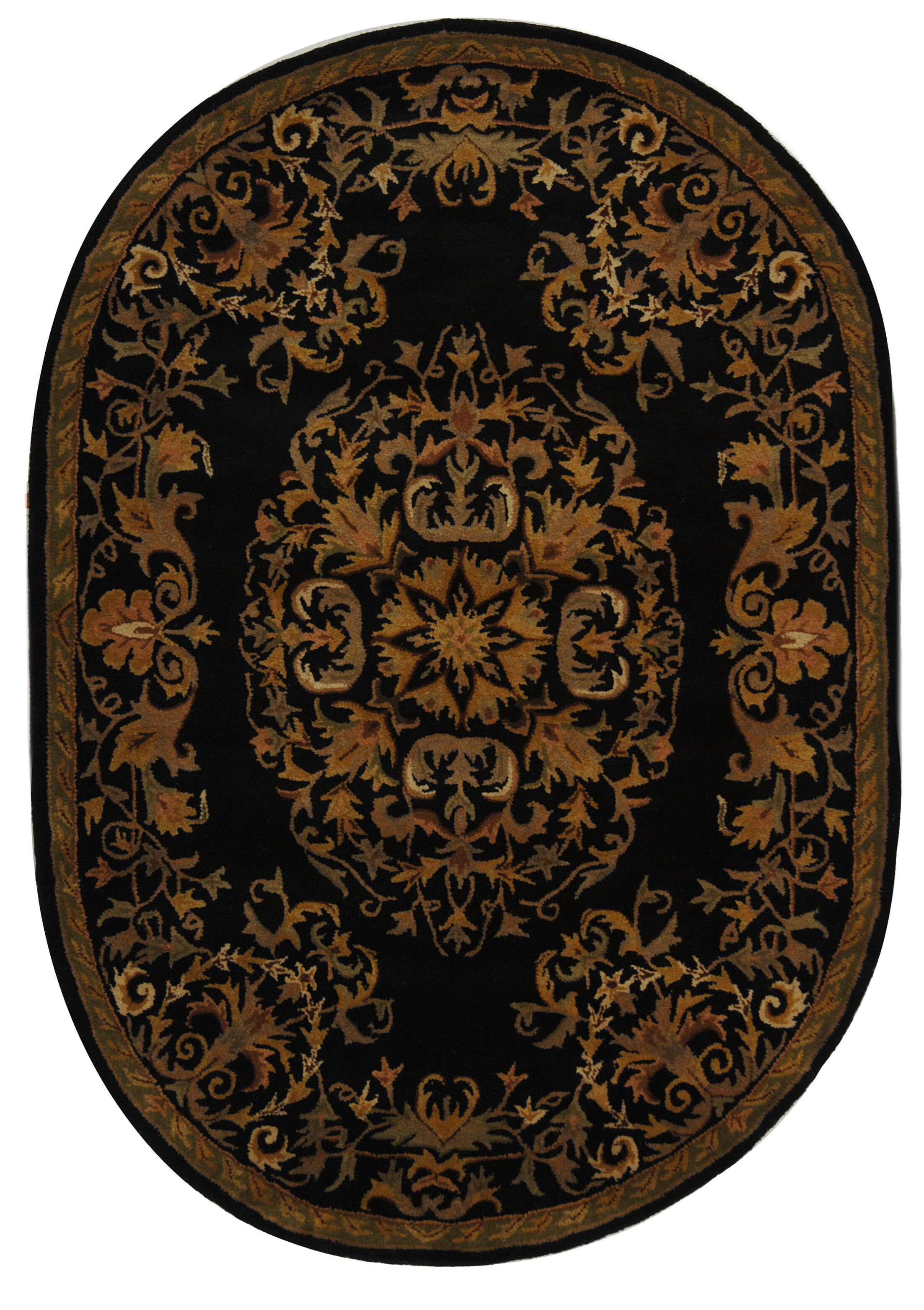 Balthrop Black/Gold Area Rug Rug Size: Round 8'