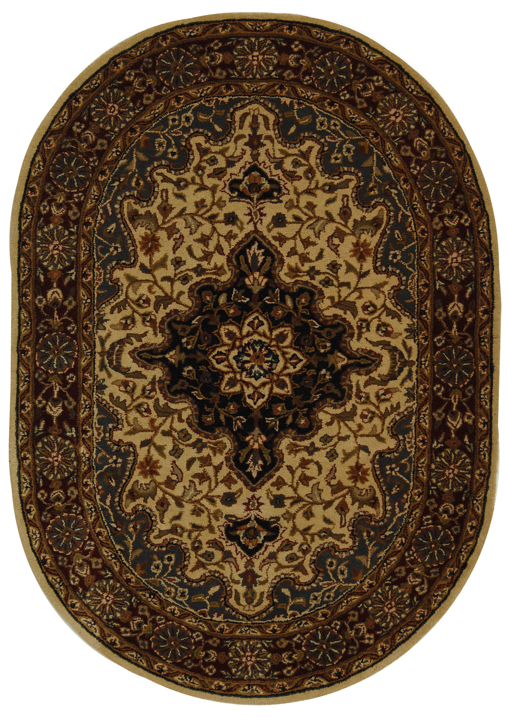 Balthrop Ivory/Red Area Rug Rug Size: Oval 4'6