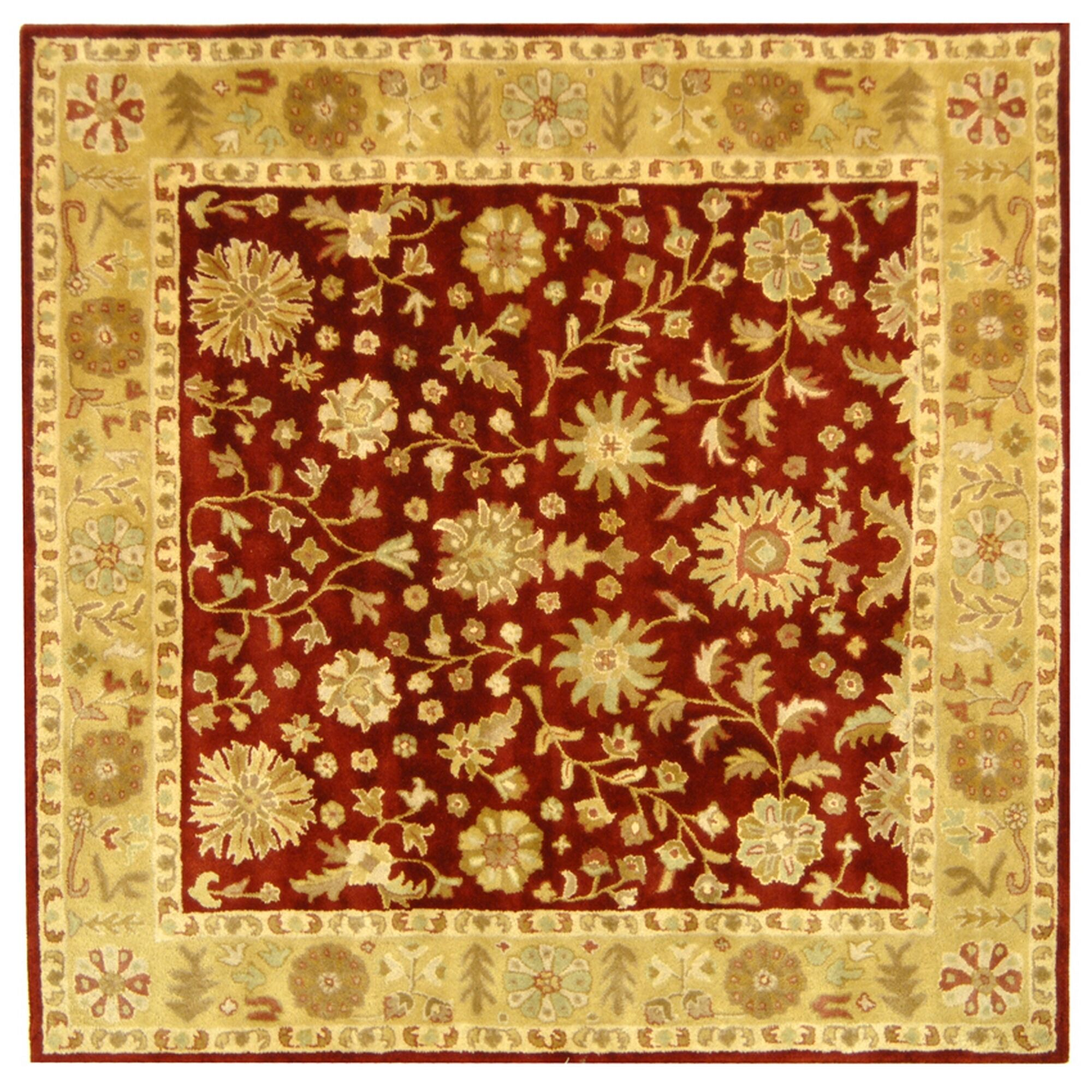 Balthrop Red/Gold Floral Area Rug Rug Size: Square 6'