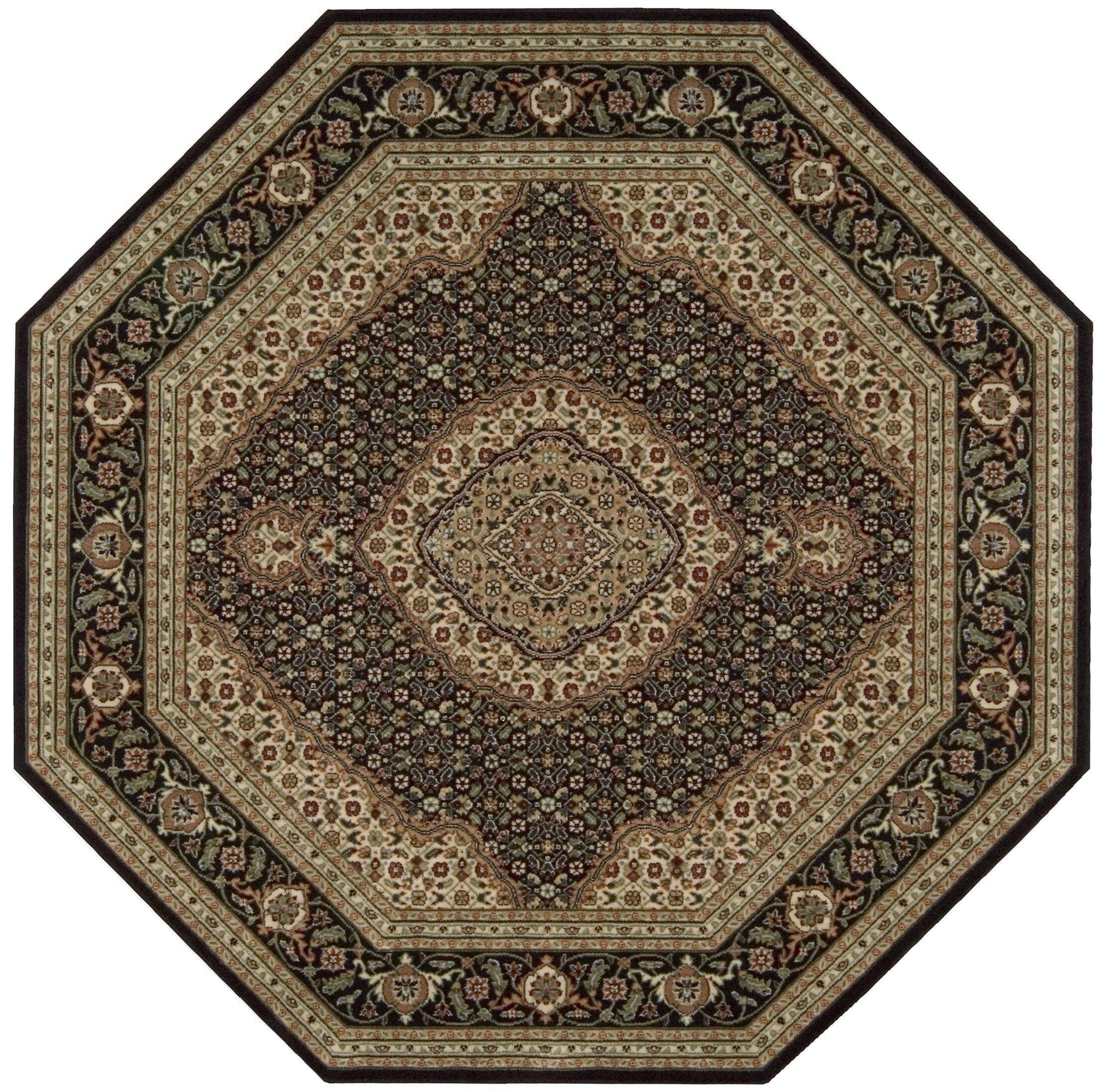 Bayhills Black/Brown Area Rug Rug Size: Octagon 5'3