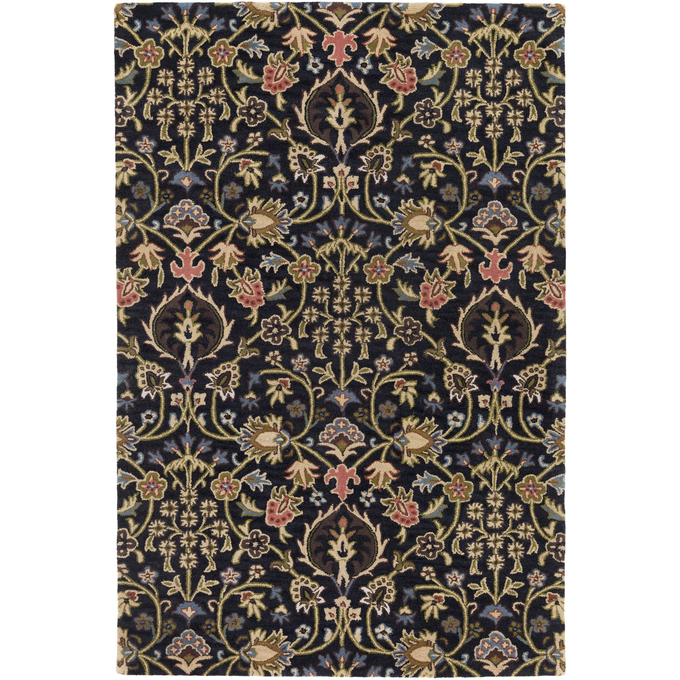 Alden Hand-Tufted Black Area Rug Rug Size: Rectangle 4' x 6'