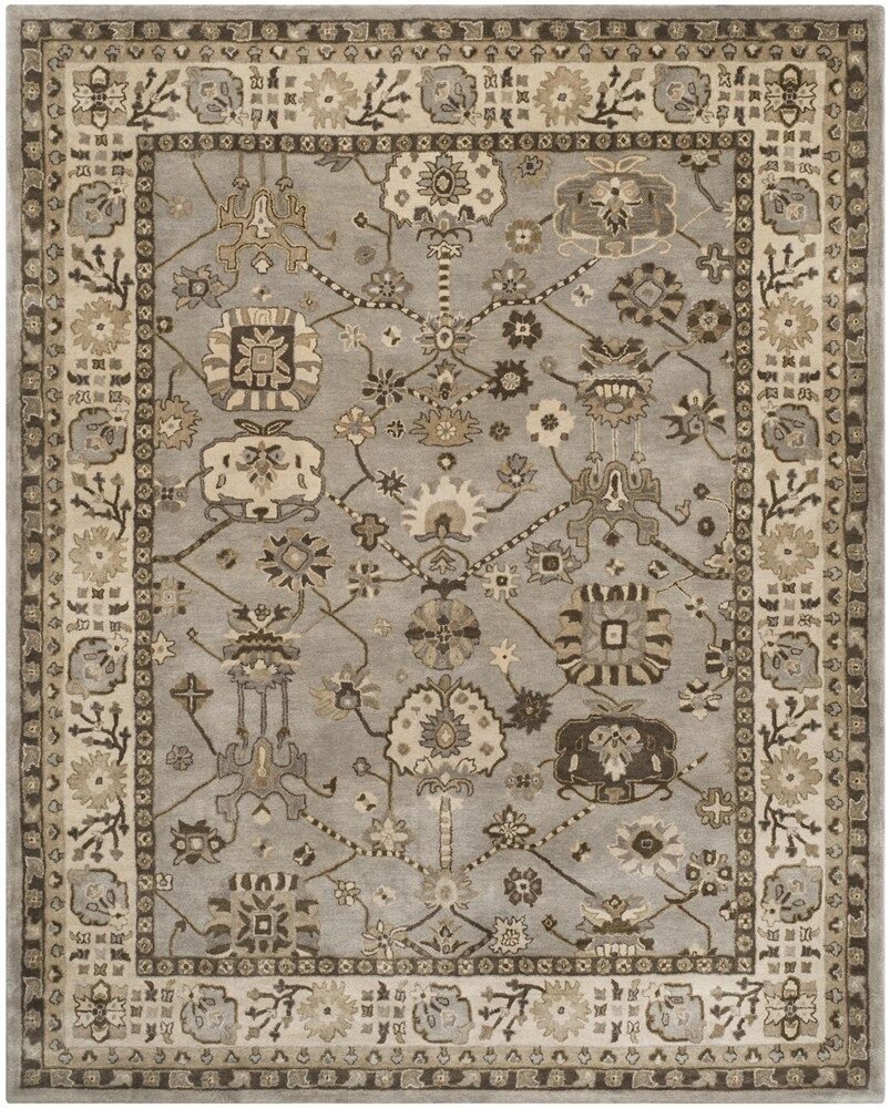 Colliers Hand-Tufted Silver/Cream Area Rug Rug Size: Square 7' x 7'