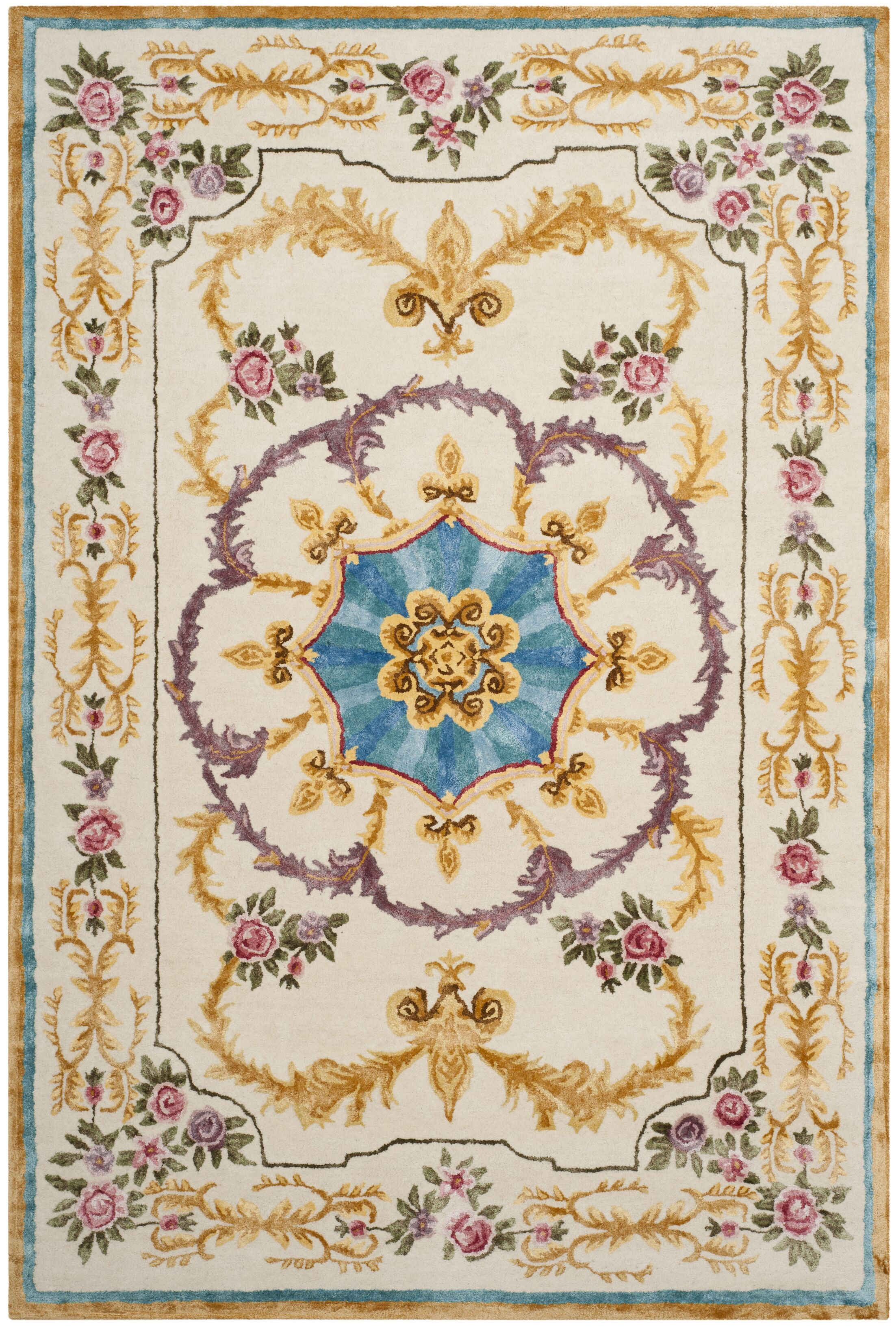 Chaplain Hand-Tufted Ivory/Gold/Purple Area Rug Rug Size: Rectangle 6' x 9'