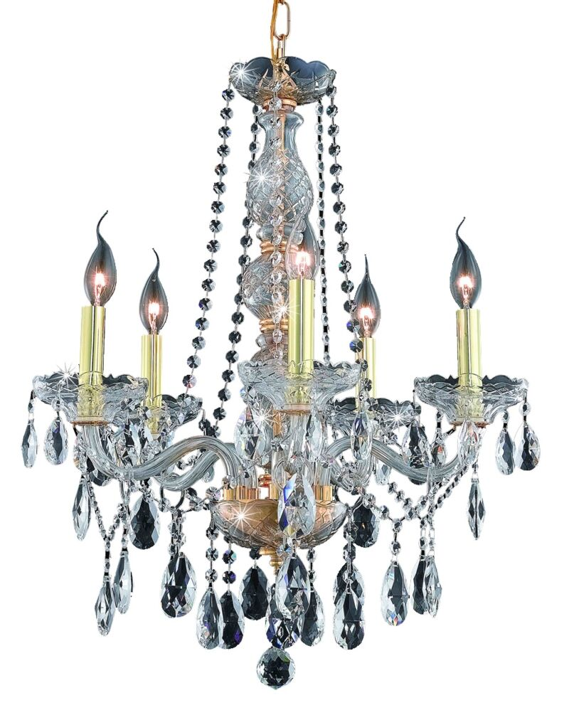 Abram 5-Light Chandelier Color / Crystal Color / Crystal Trim: Chrome / Crystal (Clear) / Elegant Cut