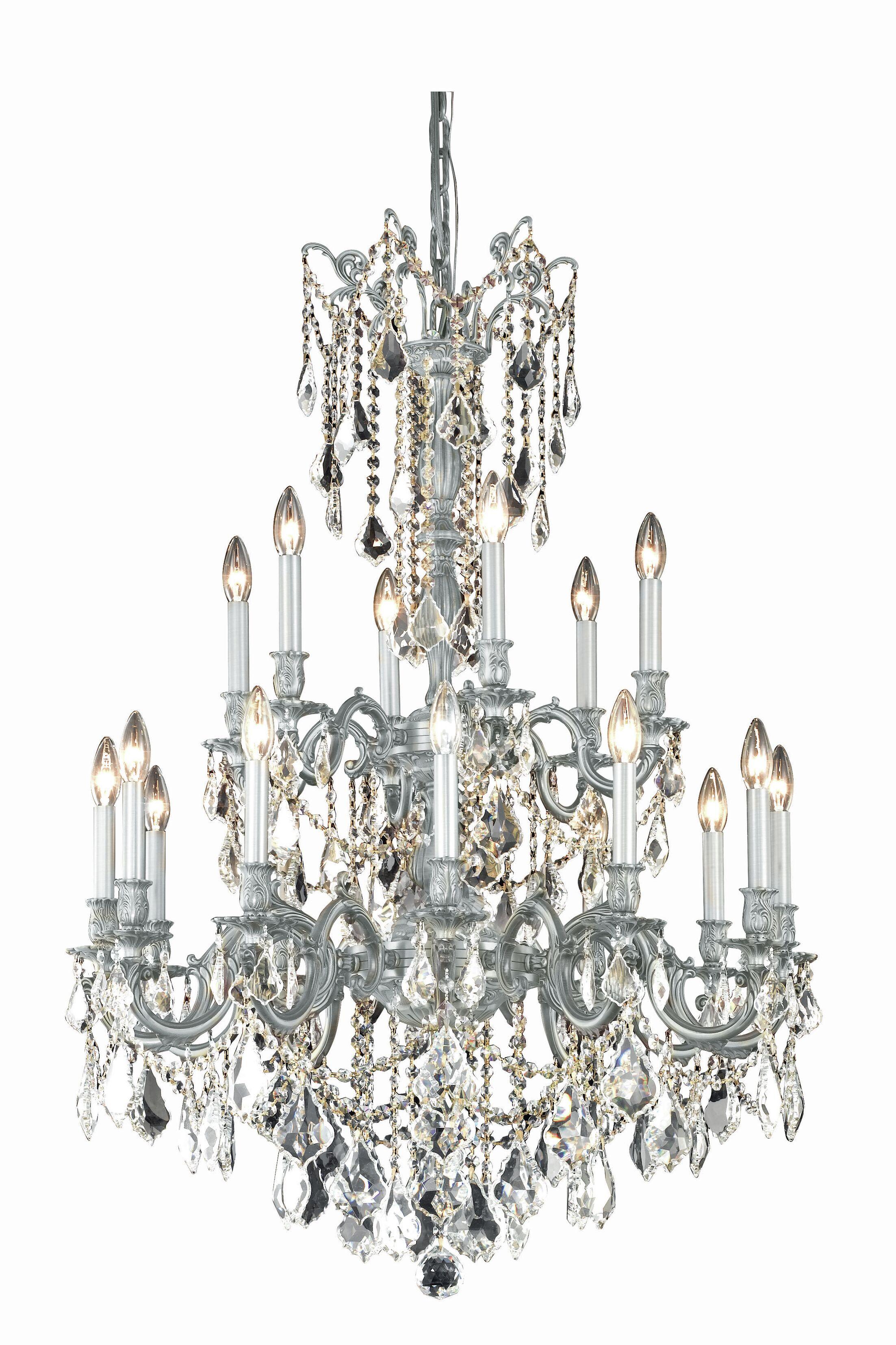 Utica 18-Light Candle Style Chandelier Crystal Grade: Spectra Swarovski, Color: Pewter