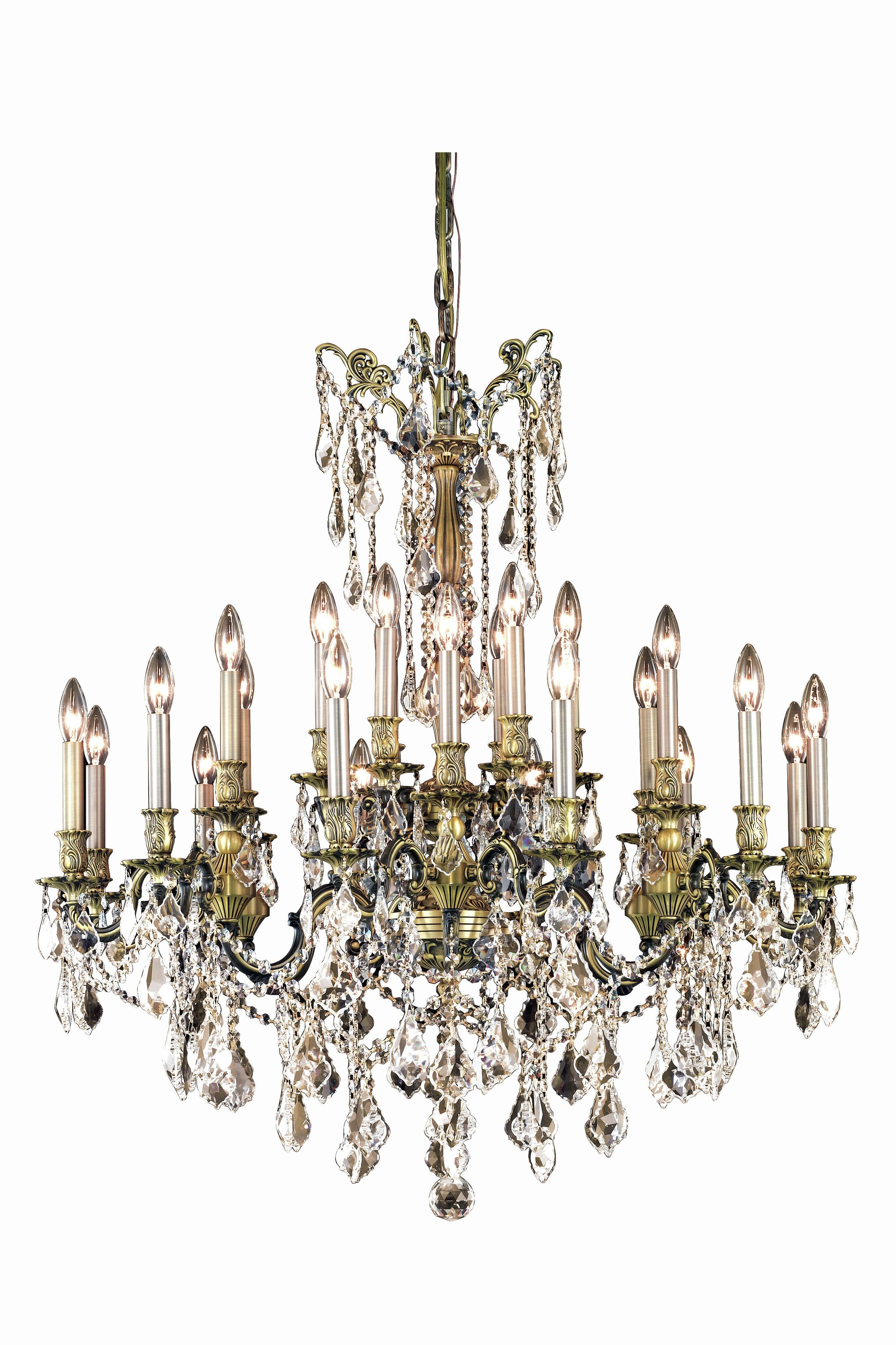 Utica 24-Light Candle Style Chandelier Crystal Grade: Spectra Swarovski, Color: French Gold