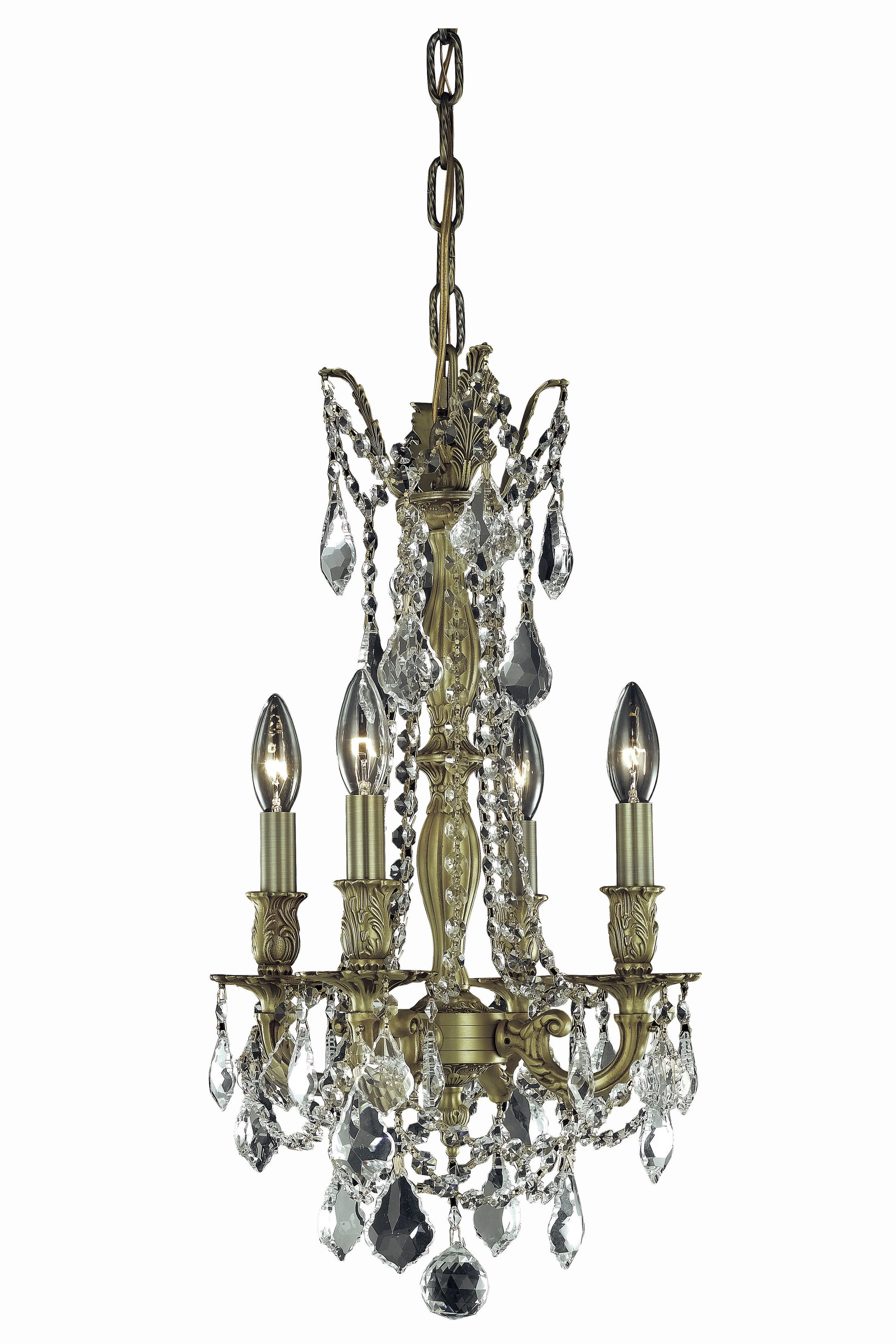 Utica 4-Light Candle Style Chandelier Crystal Grade: Swarovski Element, Color: French Gold, Size: 22