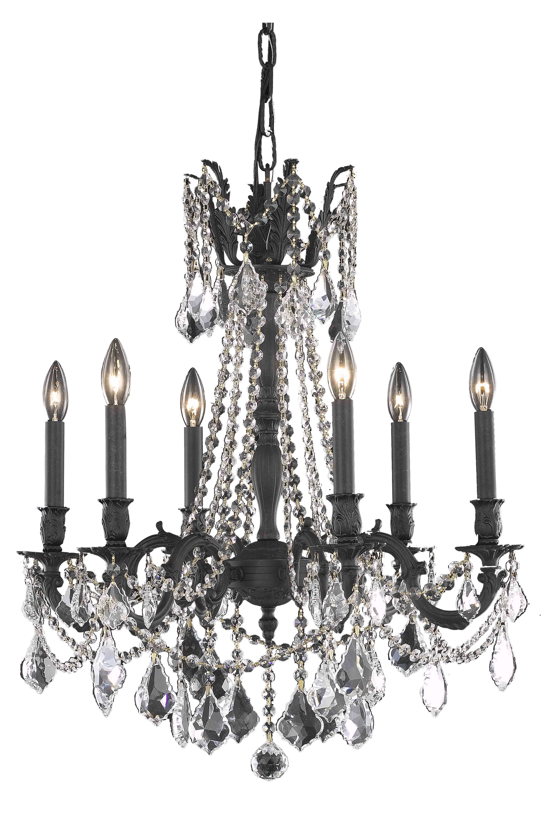 Utica 6-Light Candle Style Chandelier Crystal Color / Crystal Trim: Crystal (Clear) / Spectra Swarovski