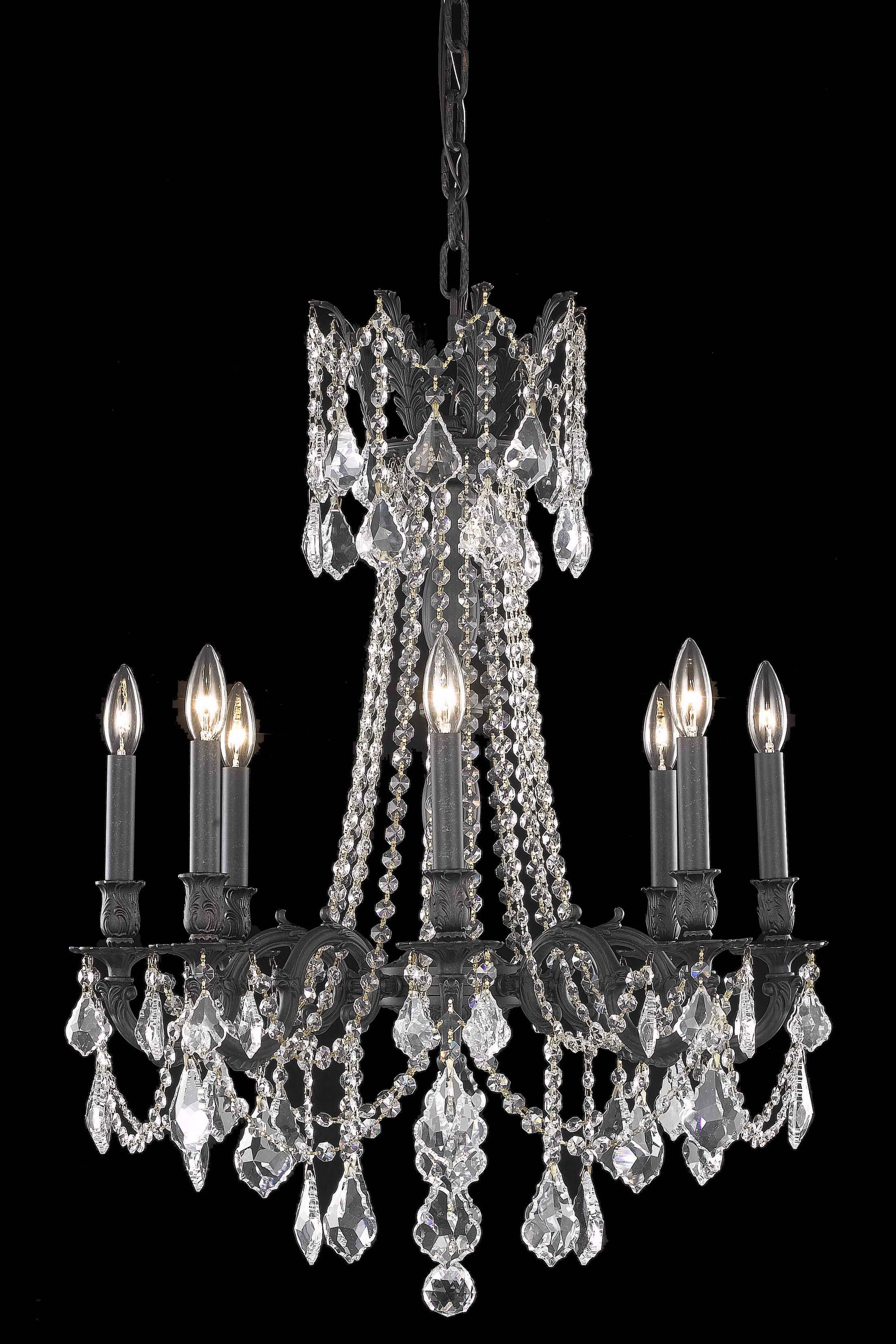 Utica 8-Light Candle Style Chandelier Crystal Color / Crystal Trim: Golden Teak (Smoky) / Royal Cut