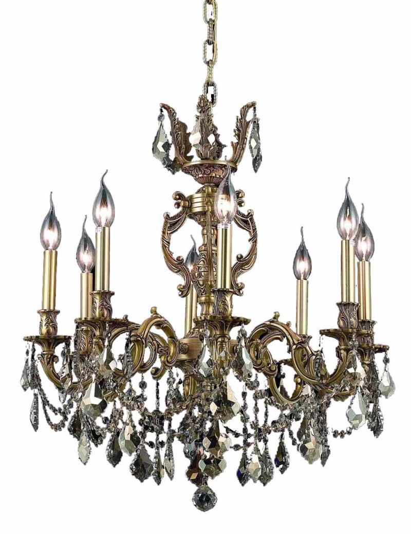 Canary 8-Light Candle Style Chandelier Color / Crystal Color / Crystal Trim: French Gold / Golden Teak (Smoky) / Royal Cut