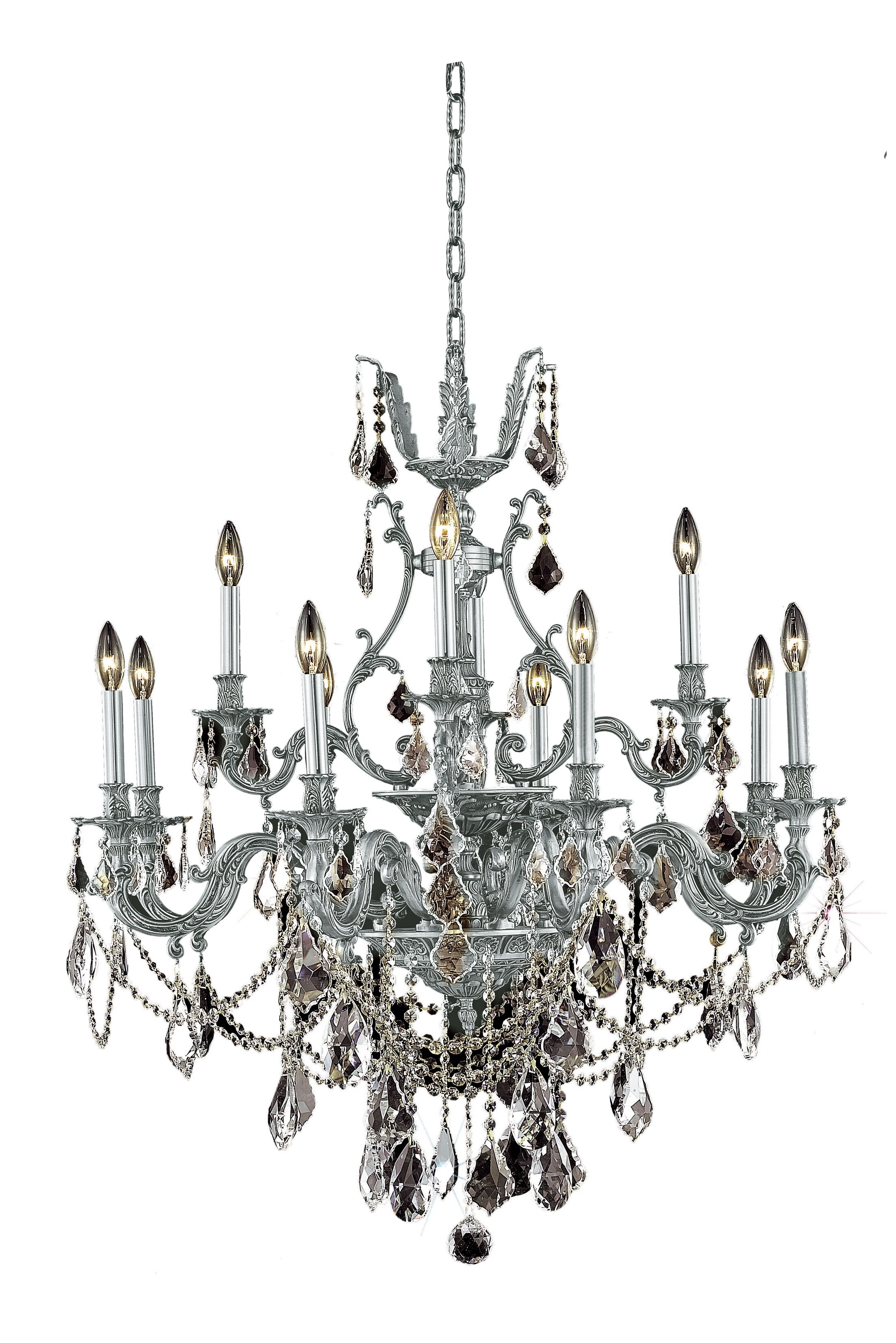Almont 12-Light Candle Style Chandelier Color / Crystal Color / Crystal Trim: Pewter / Crystal (Clear) / Spectra Swarovski