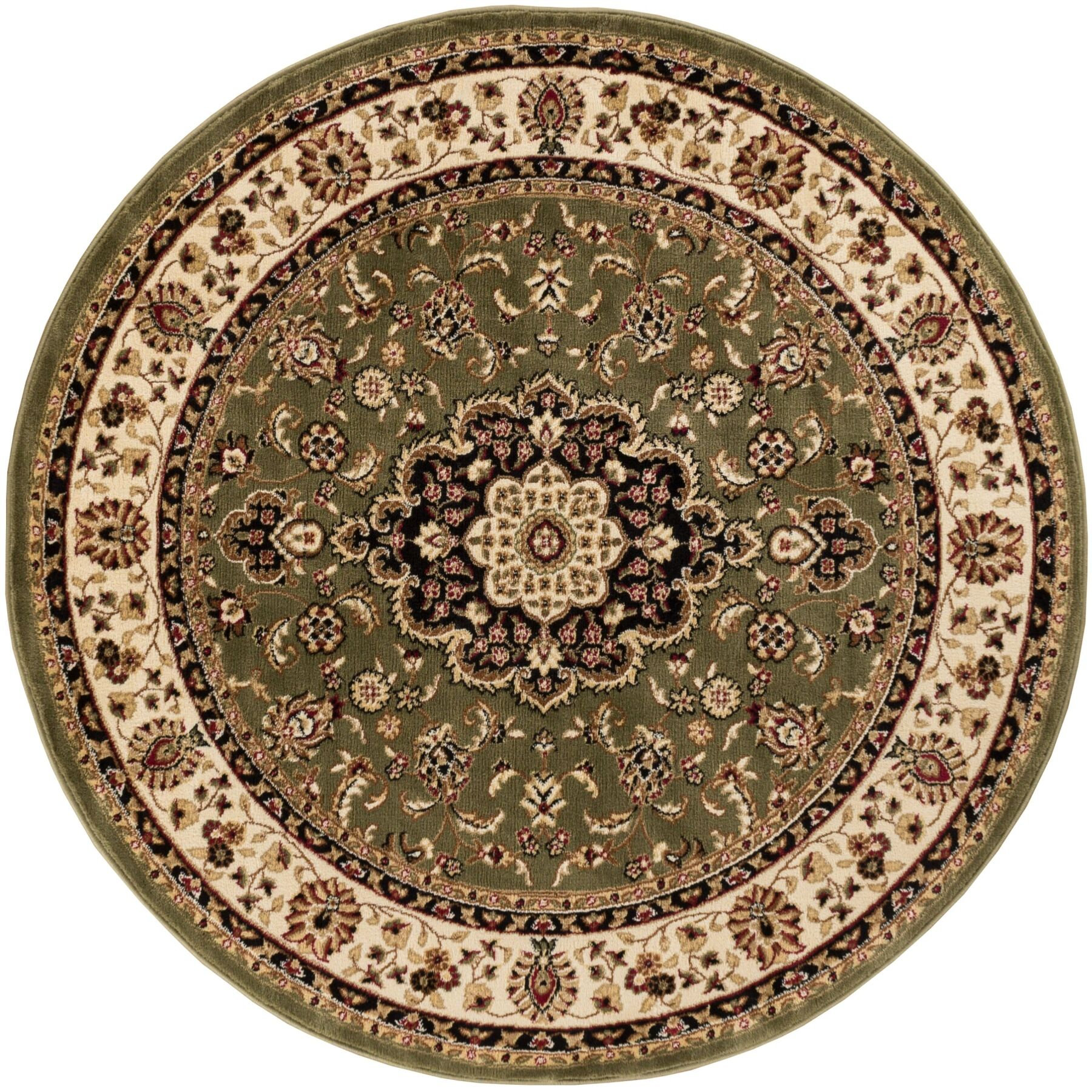 Belliere Medallion Green Area Rug Rug Size: Round 7'10