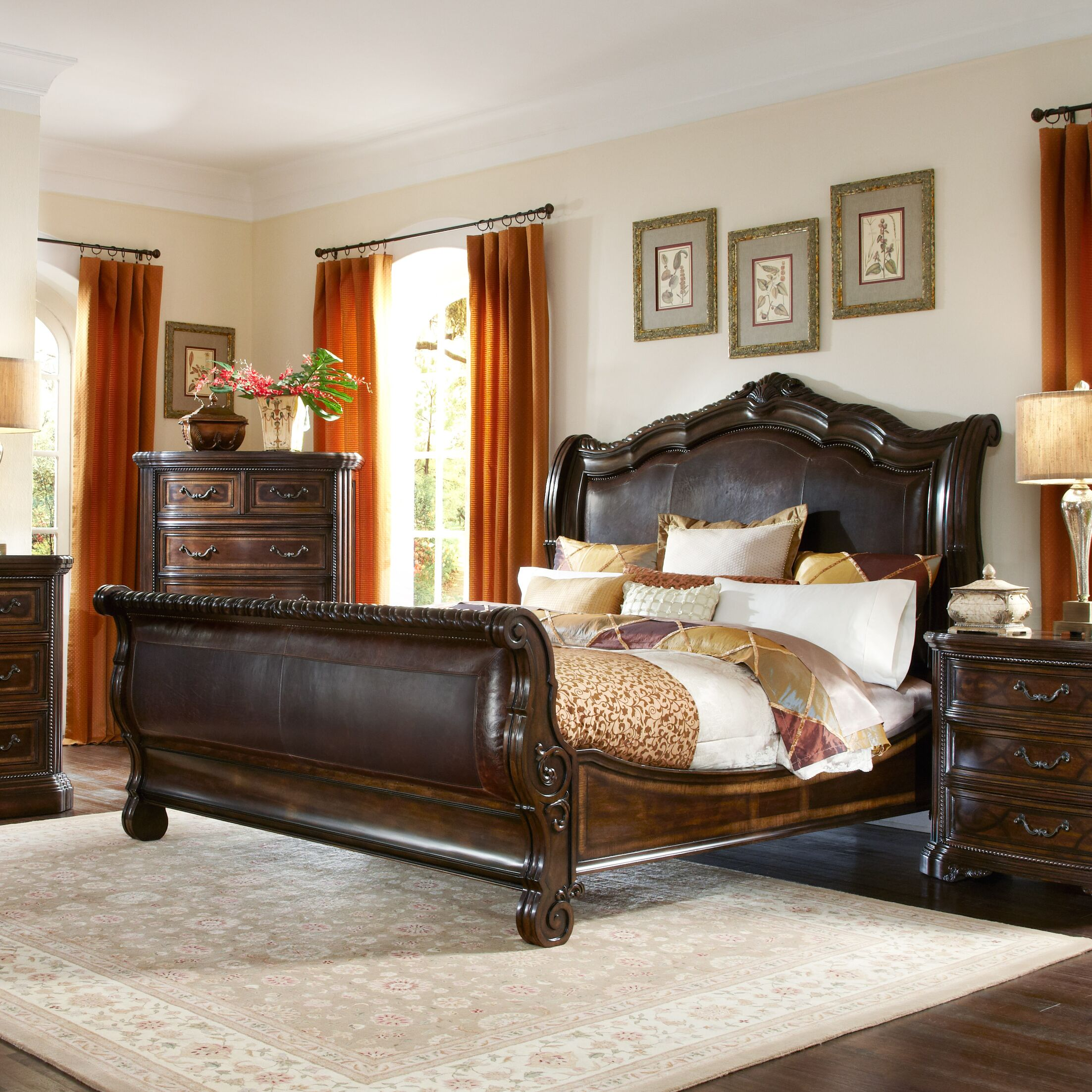 Evelyn Upholstered Sleigh Bed Size: King