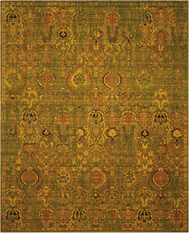 Charleson Green/Gold Area Rug Rug Size: Rectangle 5'6