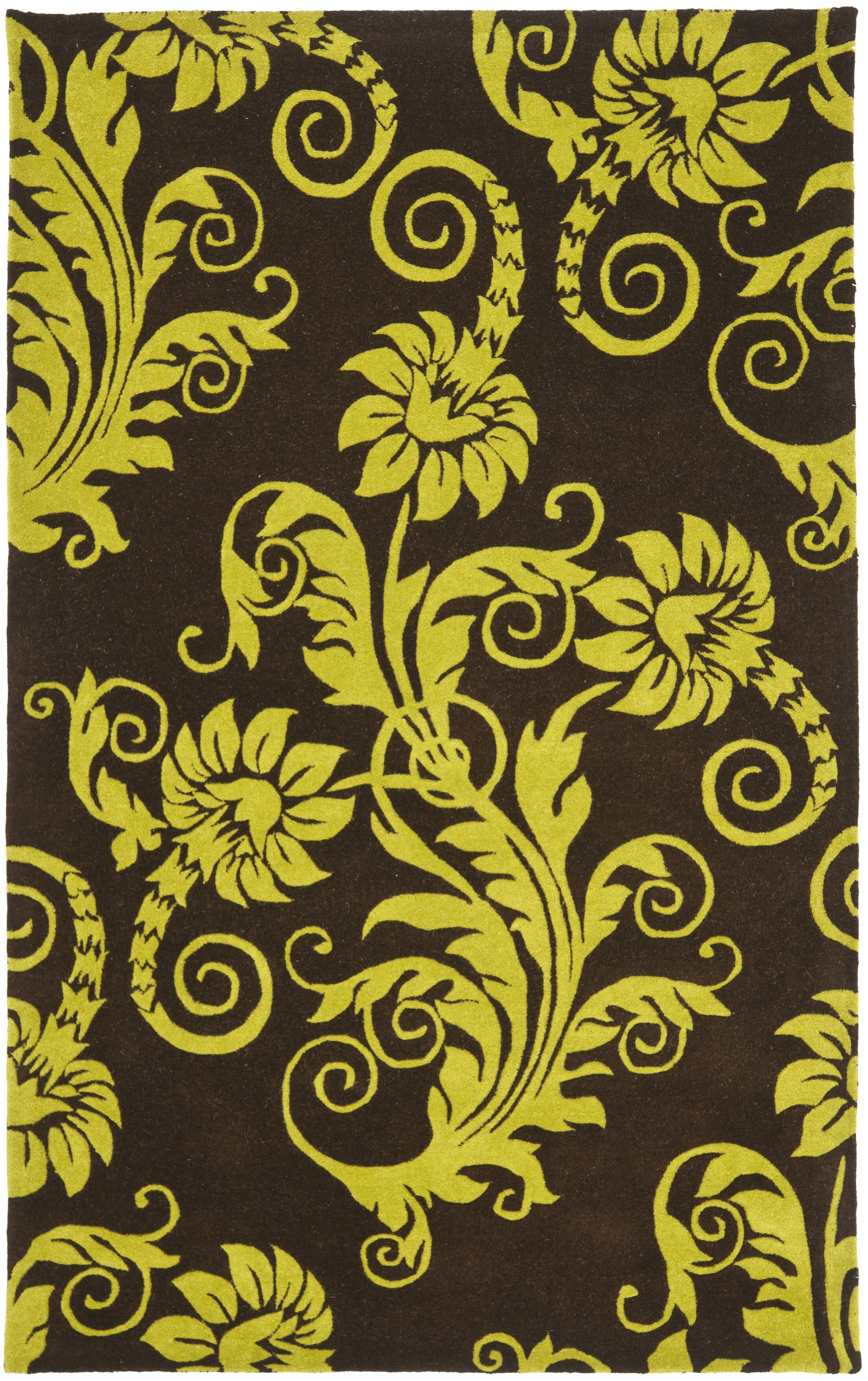 Kirkoswald Hand-Tufted Brown/Green Area Rug Rug Size: Rectangle 3'6