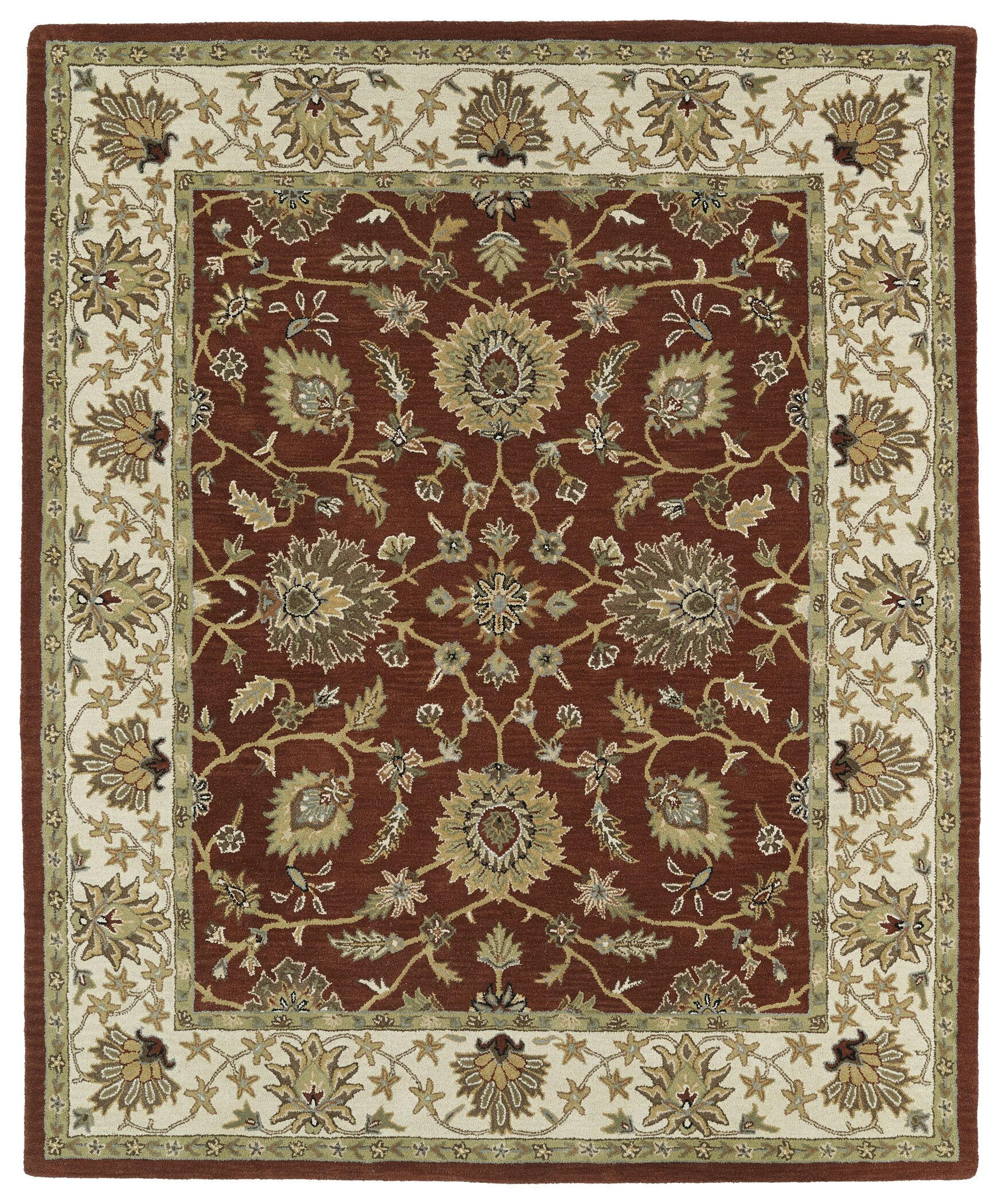 Barkell Red/Ivory Area Rug Rug Size: Rectangle 5' x 7'9
