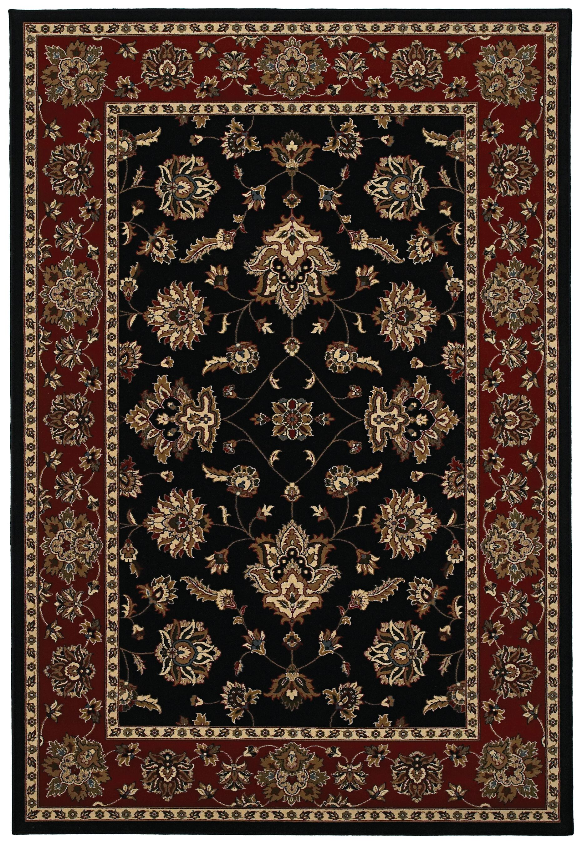Shelburne Black/Red Area Rug