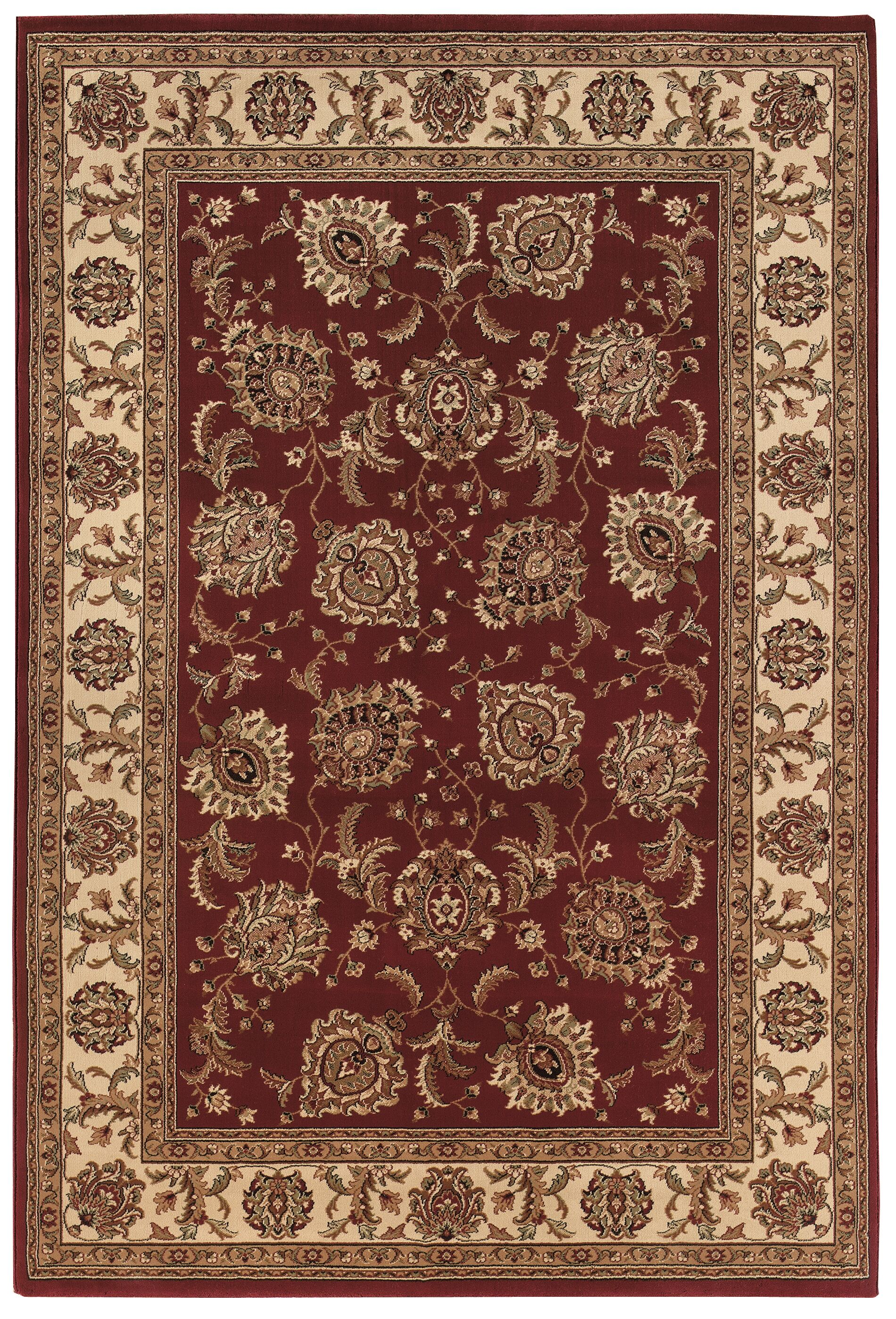 Shelburne Red/Ivory Area Rug Rug Size: Rectangle 5'3