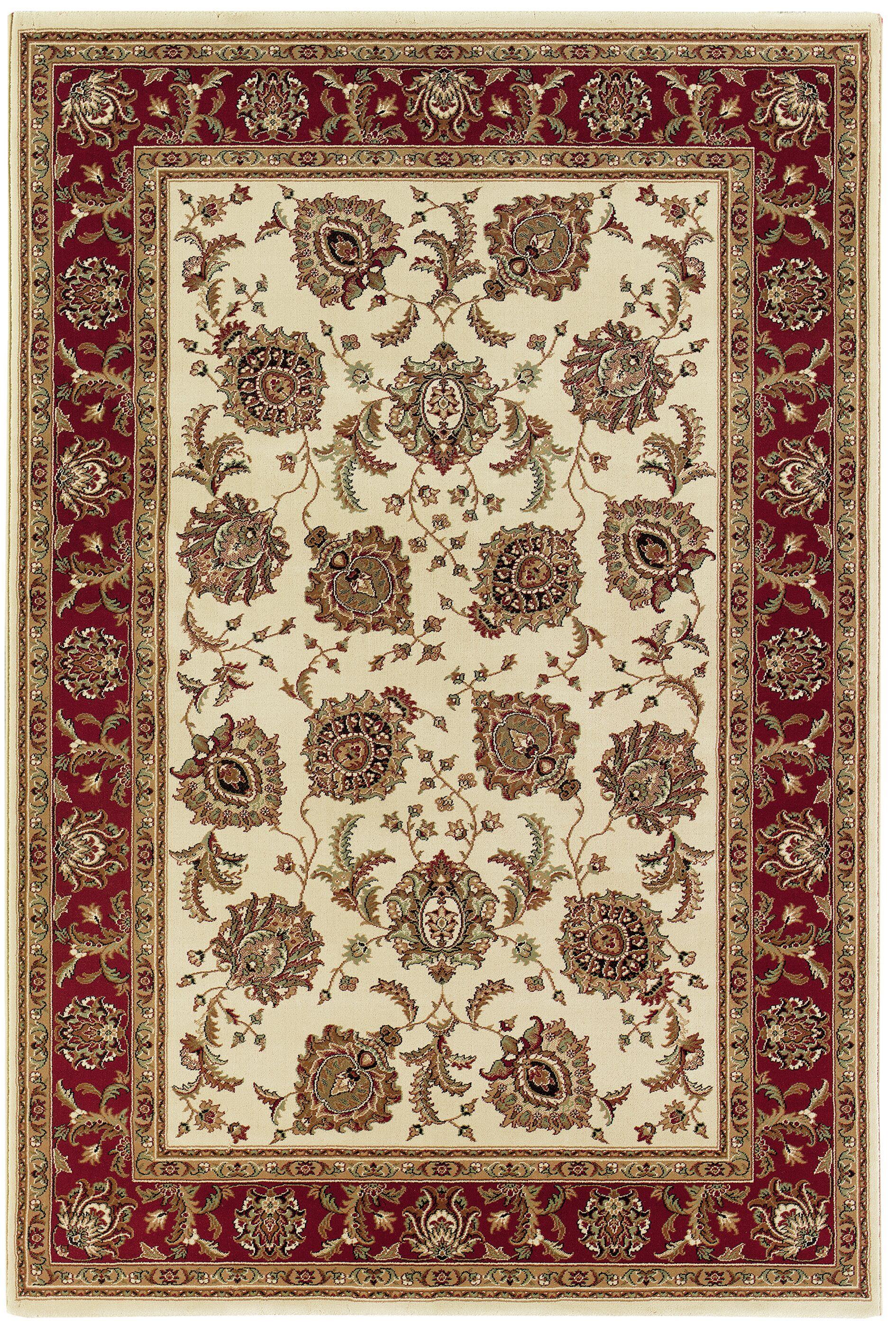 Shelburne Ivory/Red Area Rug Rug Size: Rectangle 4' x 6'