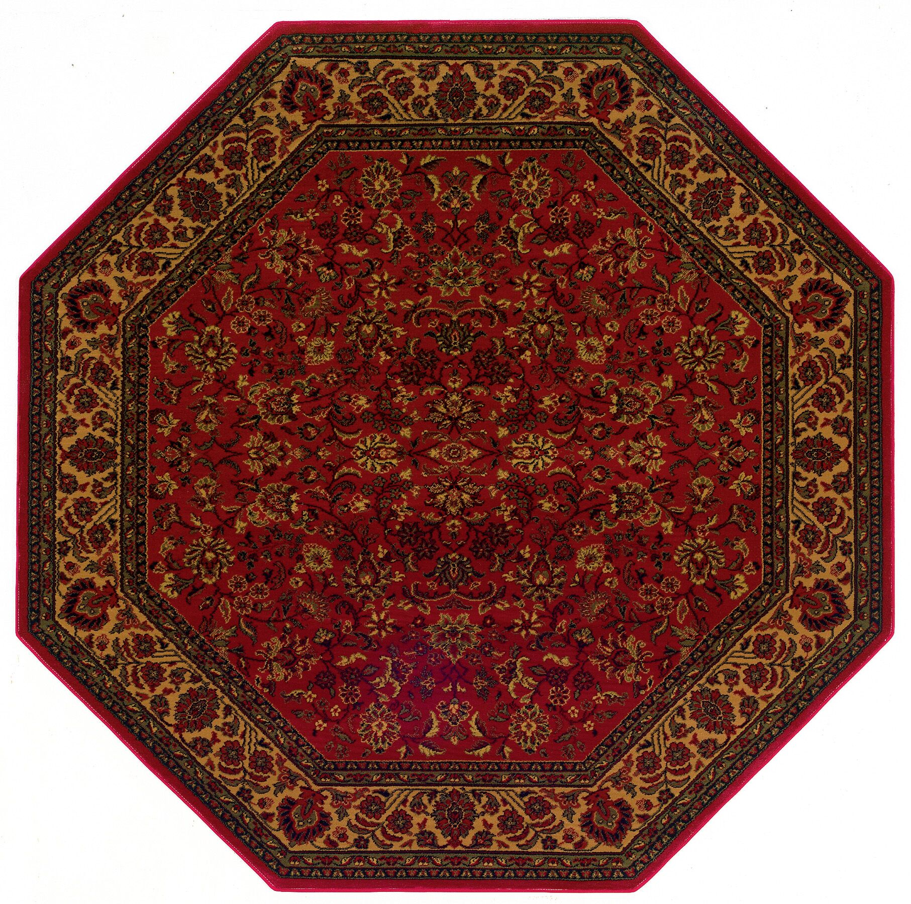 Chivers Yellow/Crimson Area Rug Rug Size: Octagon 3'11