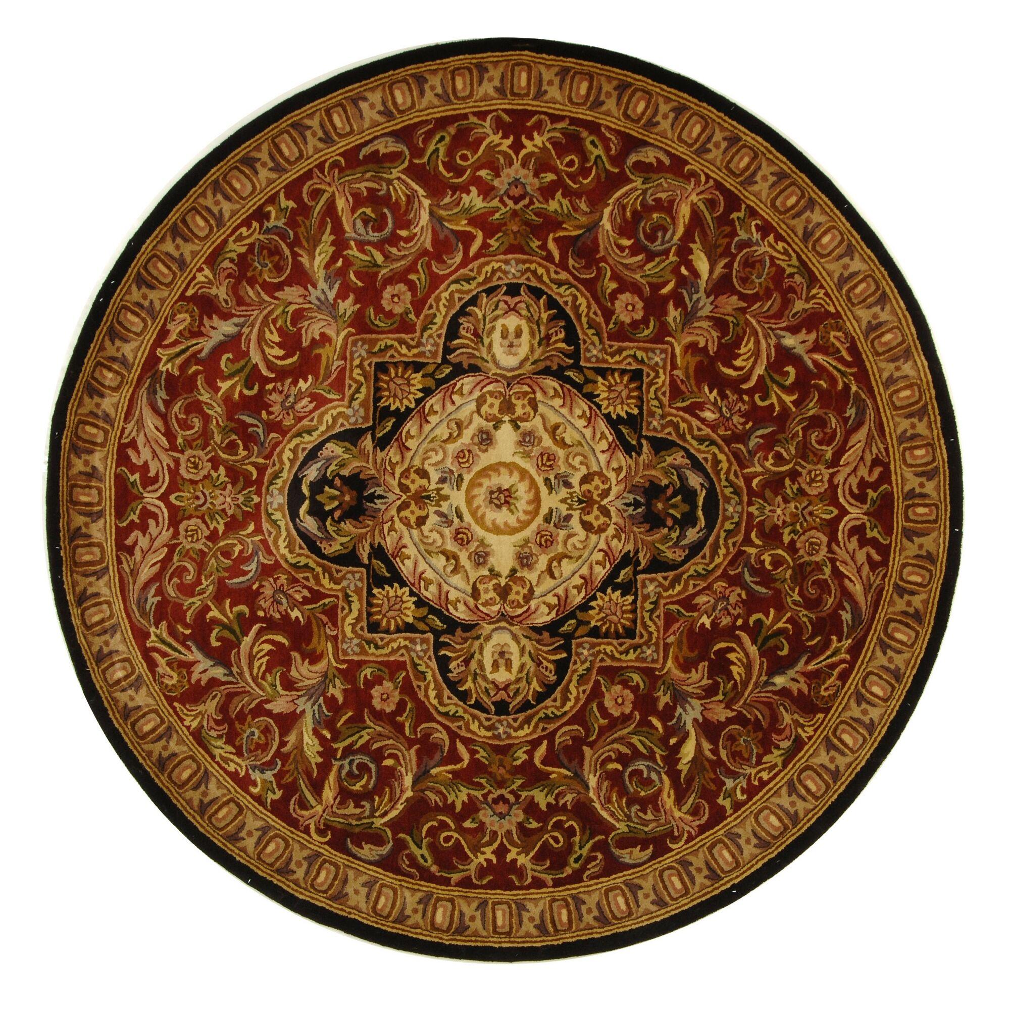 Carnasheeran Royal Red/Black Rug Rug Size: Round 3'6