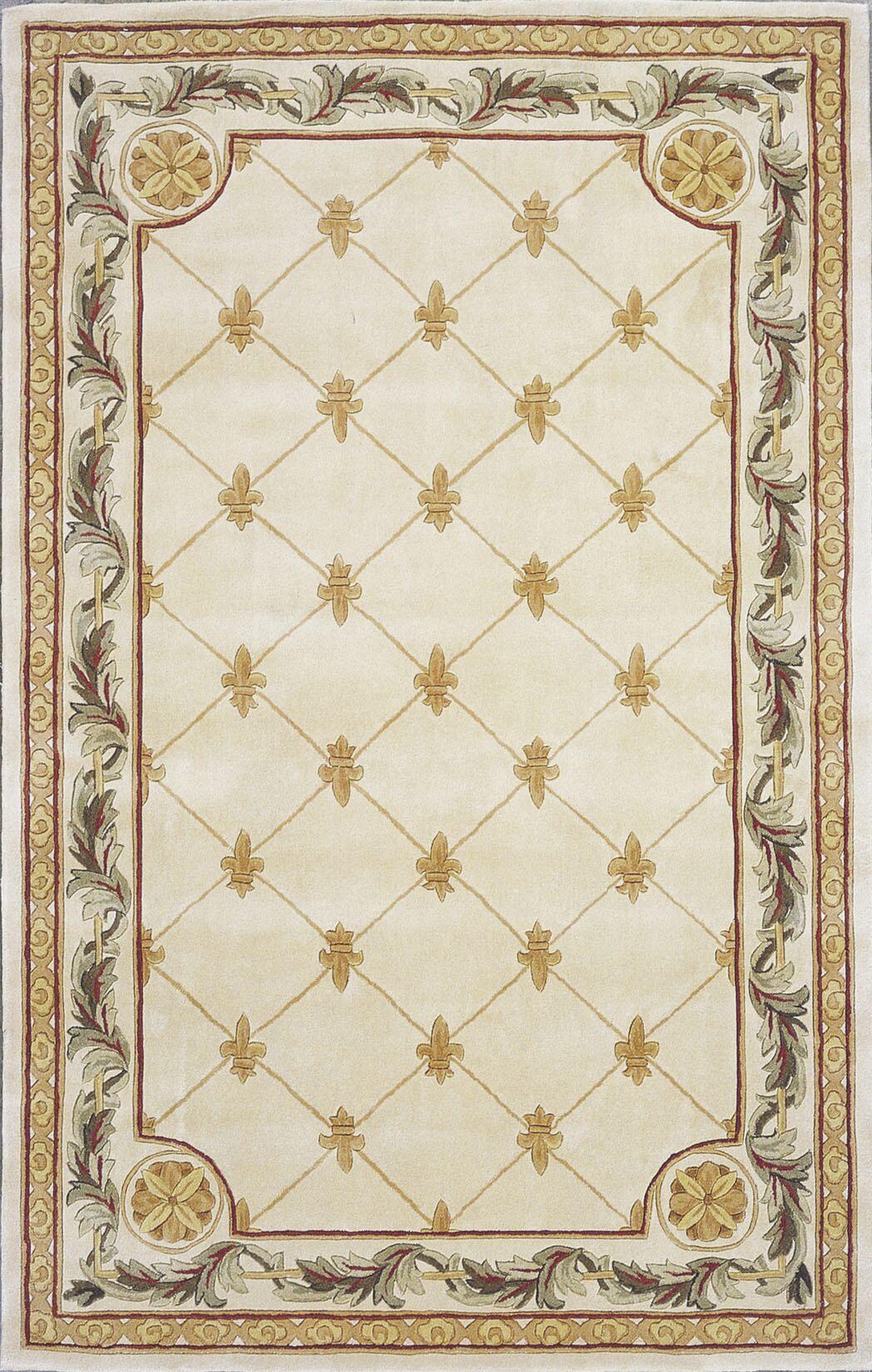 Totternhoe Antique Ivory Fleur-De-Lis Rug Rug Size: Rectangle 9'6