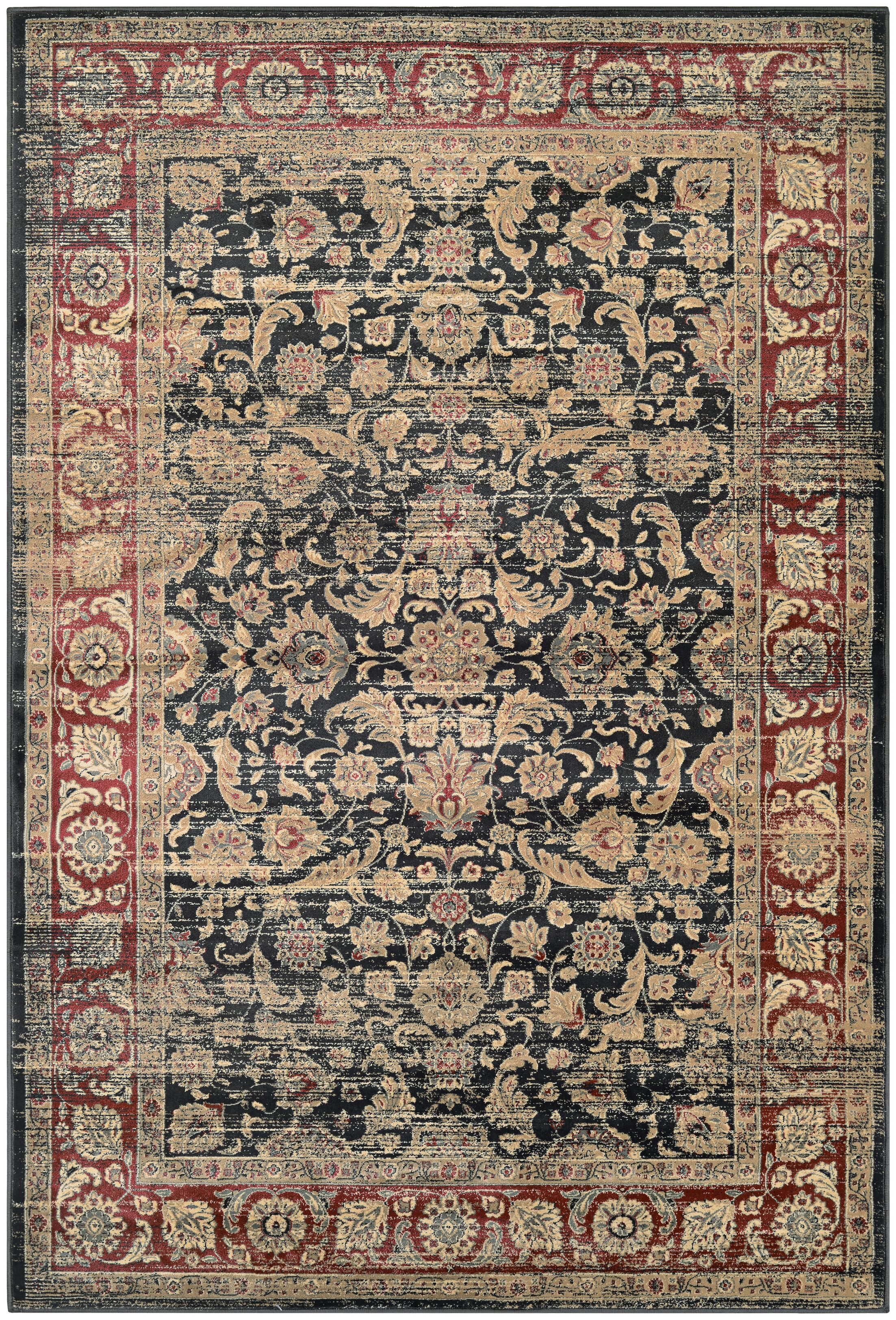 Cotswolds Black/Red Area Rug Rug Size: Rectangle 7'10